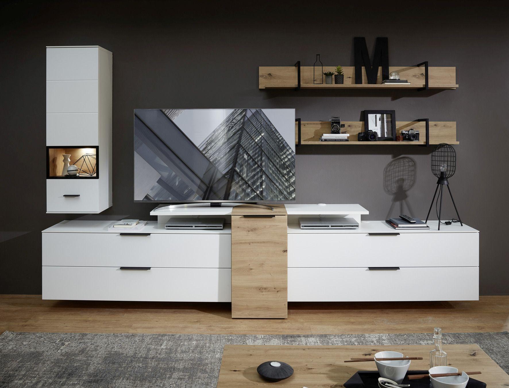 Set de mobila living din pal si MDF, 6 piese Madeline Alb / Stejar imagine