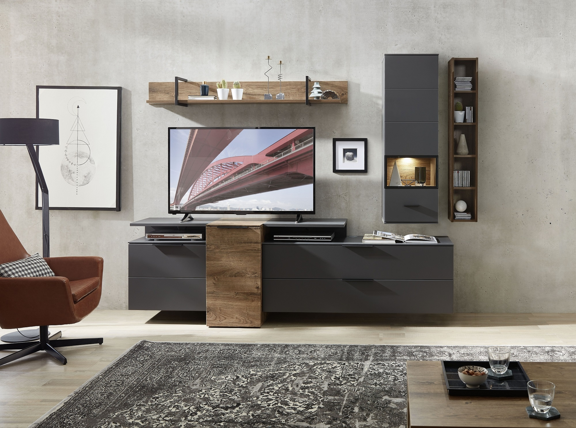 Set de mobila living din pal si MDF, 6 piese Madeline Havel Oak Cognac / Grafit imagine