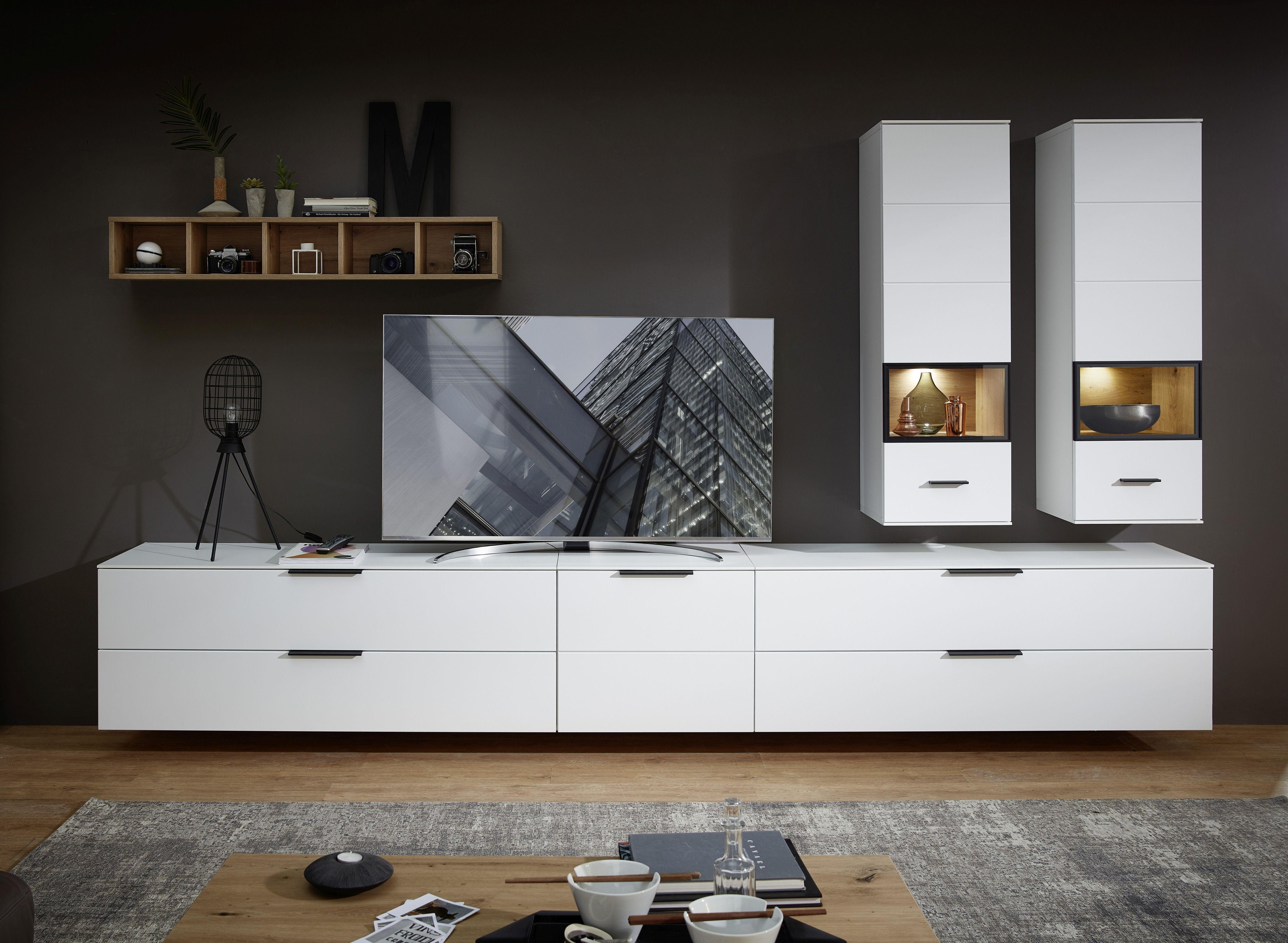 Set de mobila living din pal si MDF, 6 piese Madeline II Alb imagine