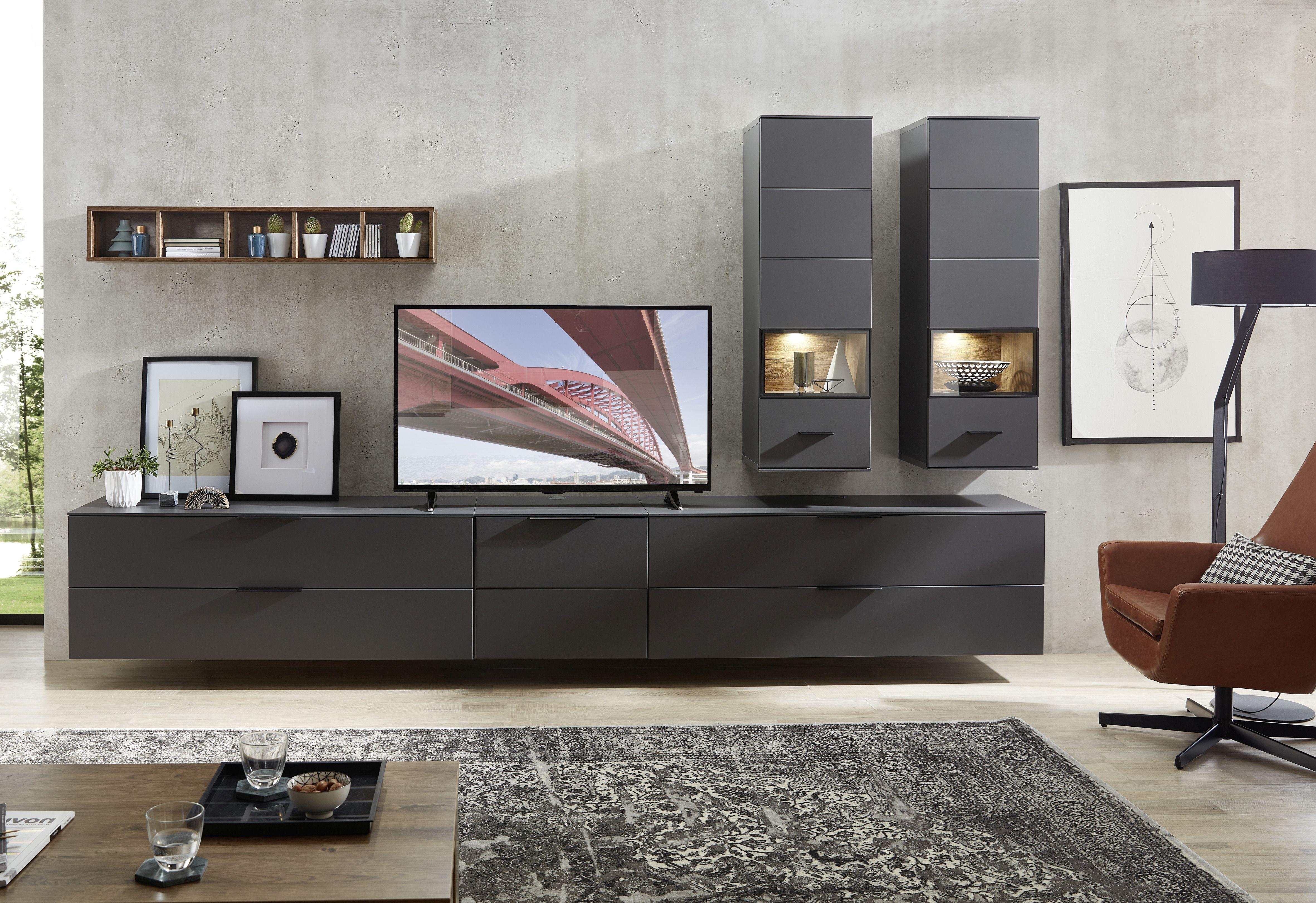 Set de mobila living din pal si MDF, 6 piese Madeline II Grafit imagine