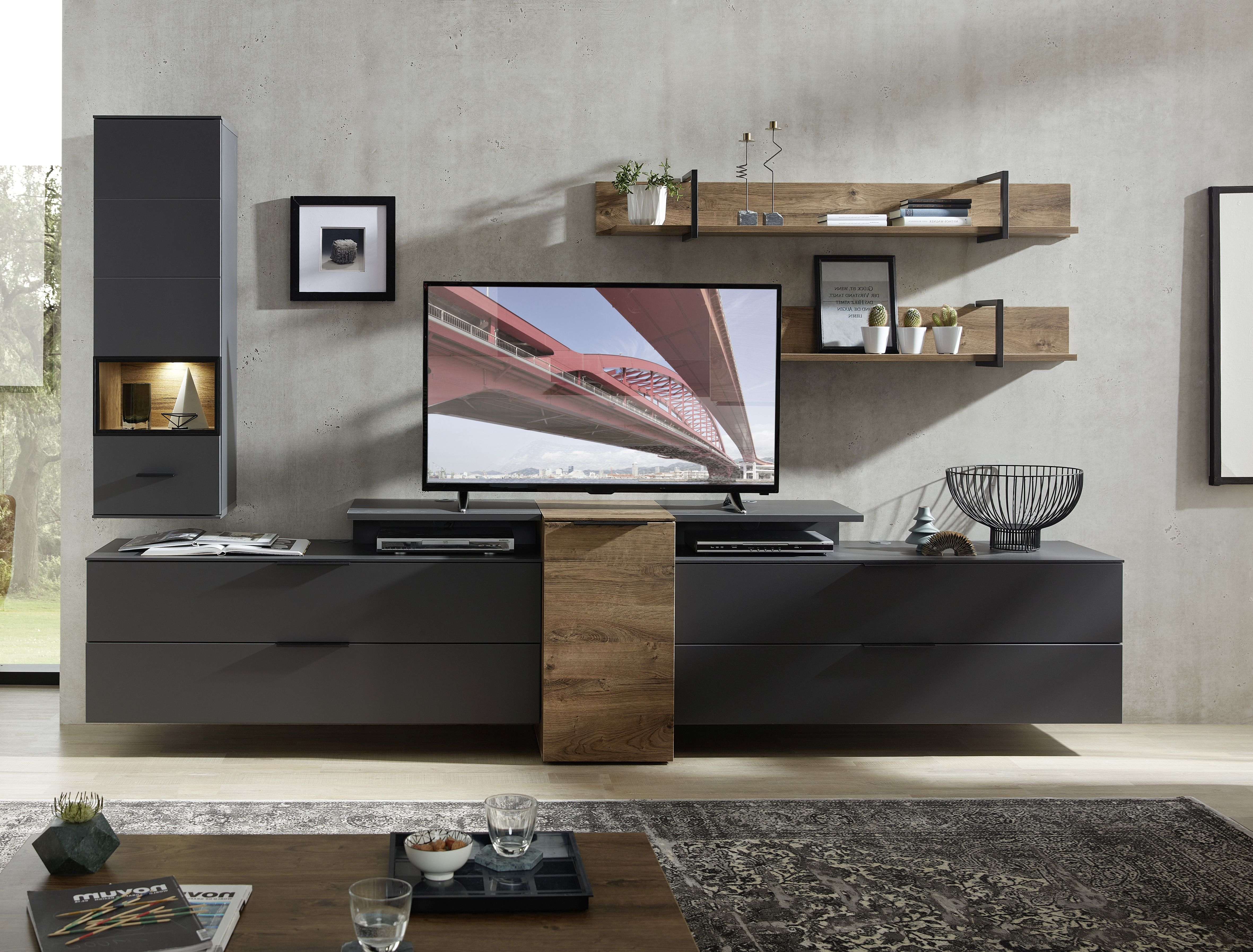 Set de mobila living din pal si MDF, 6 piese Madeline Large Havel Oak Cognac / Grafit imagine