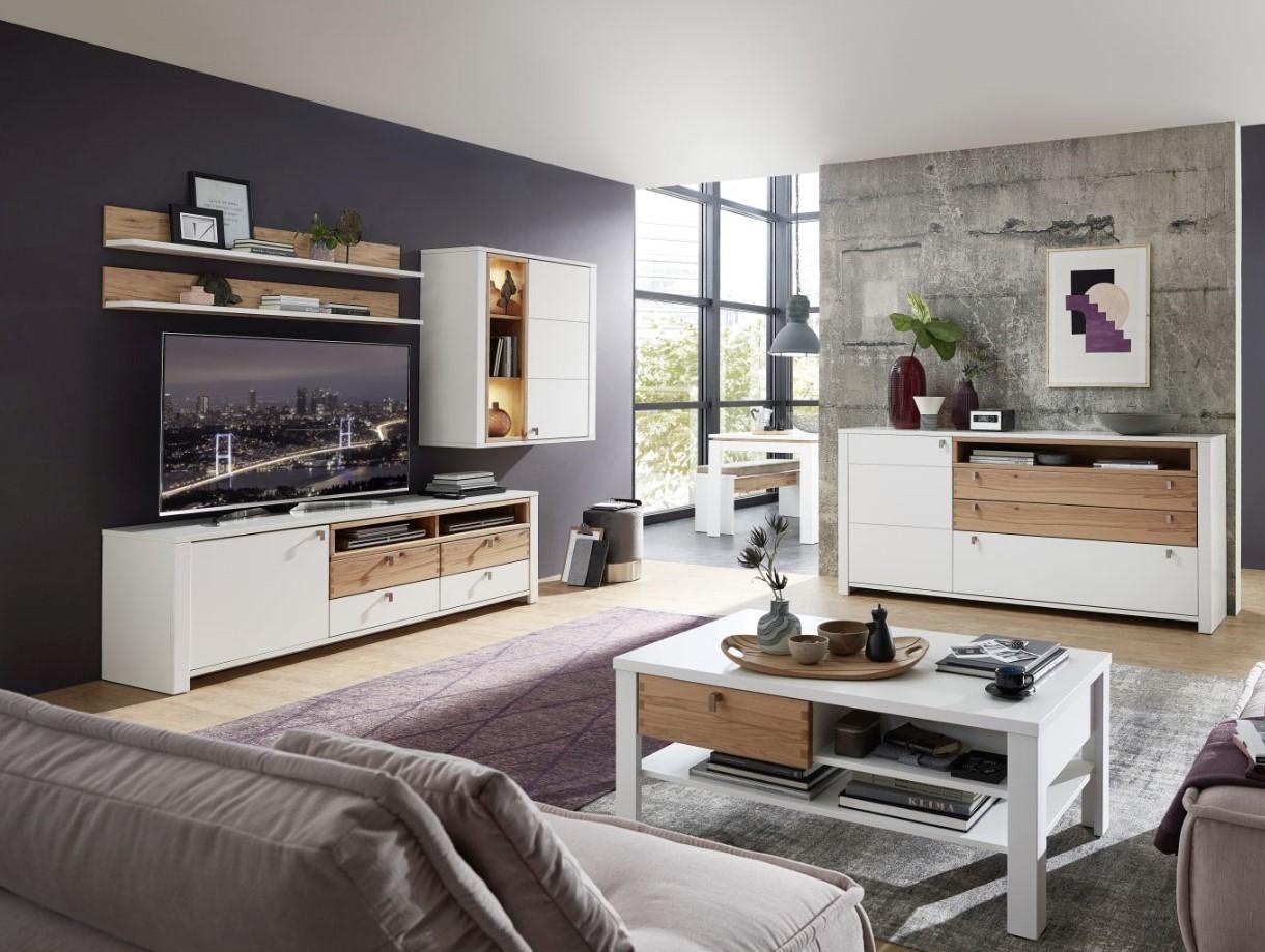 Set de mobila living din pal si MDF, 6 piese Selina Alb / Natur imagine