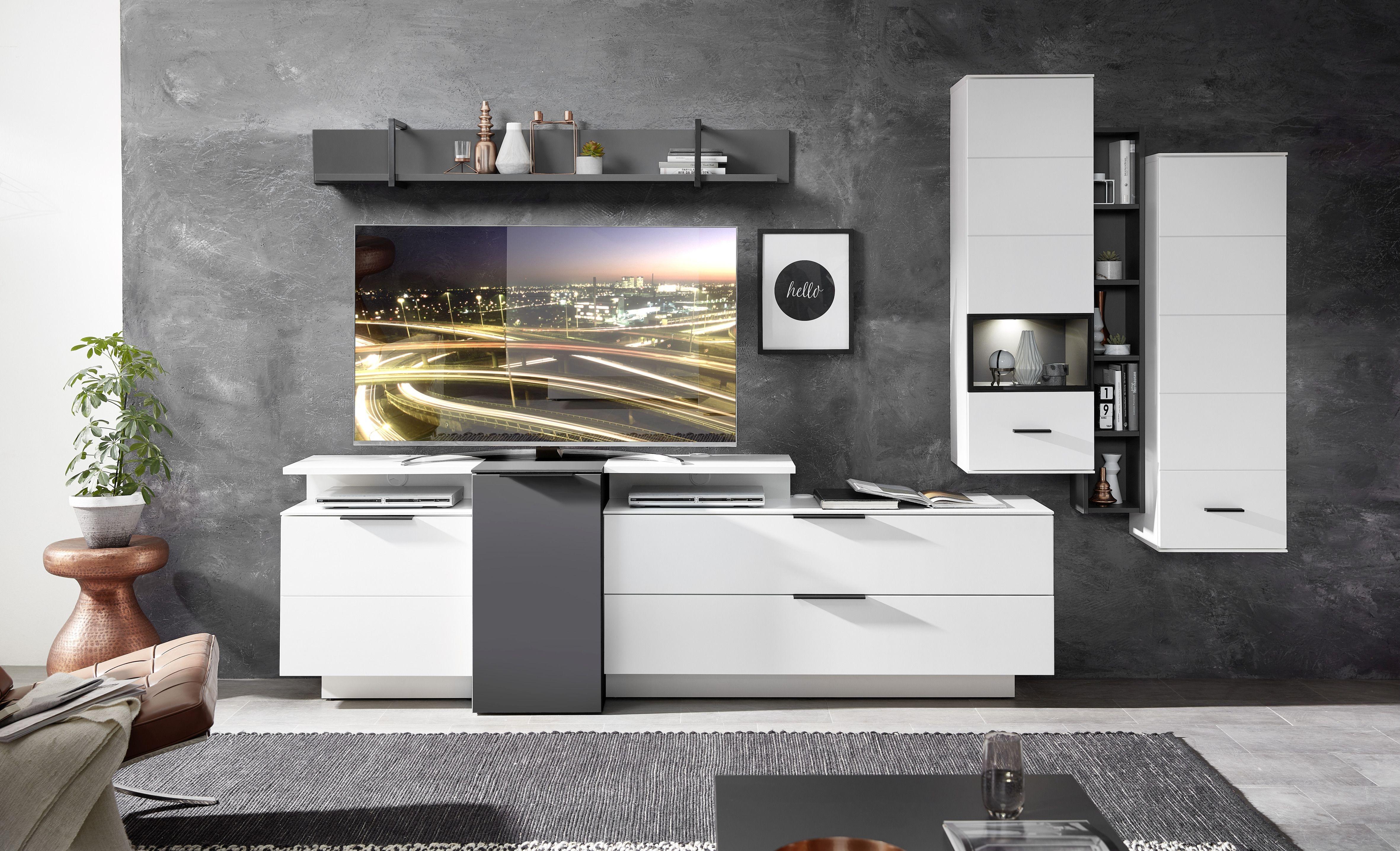 Set de mobila living din pal si MDF, 7 piese Madeline Alb / Grafit imagine