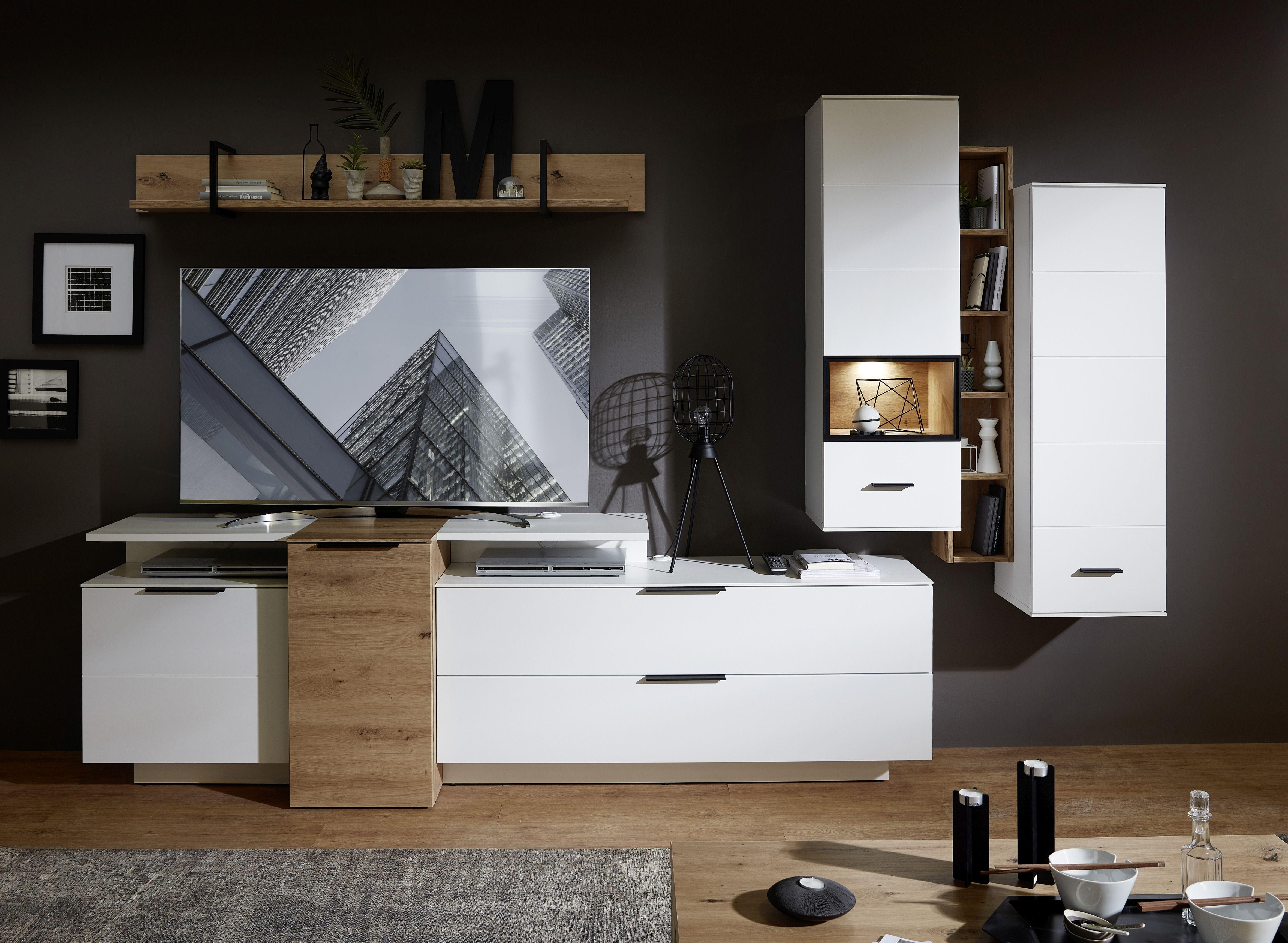 Set de mobila living din pal si MDF, 7 piese Madeline Alb / Stejar imagine