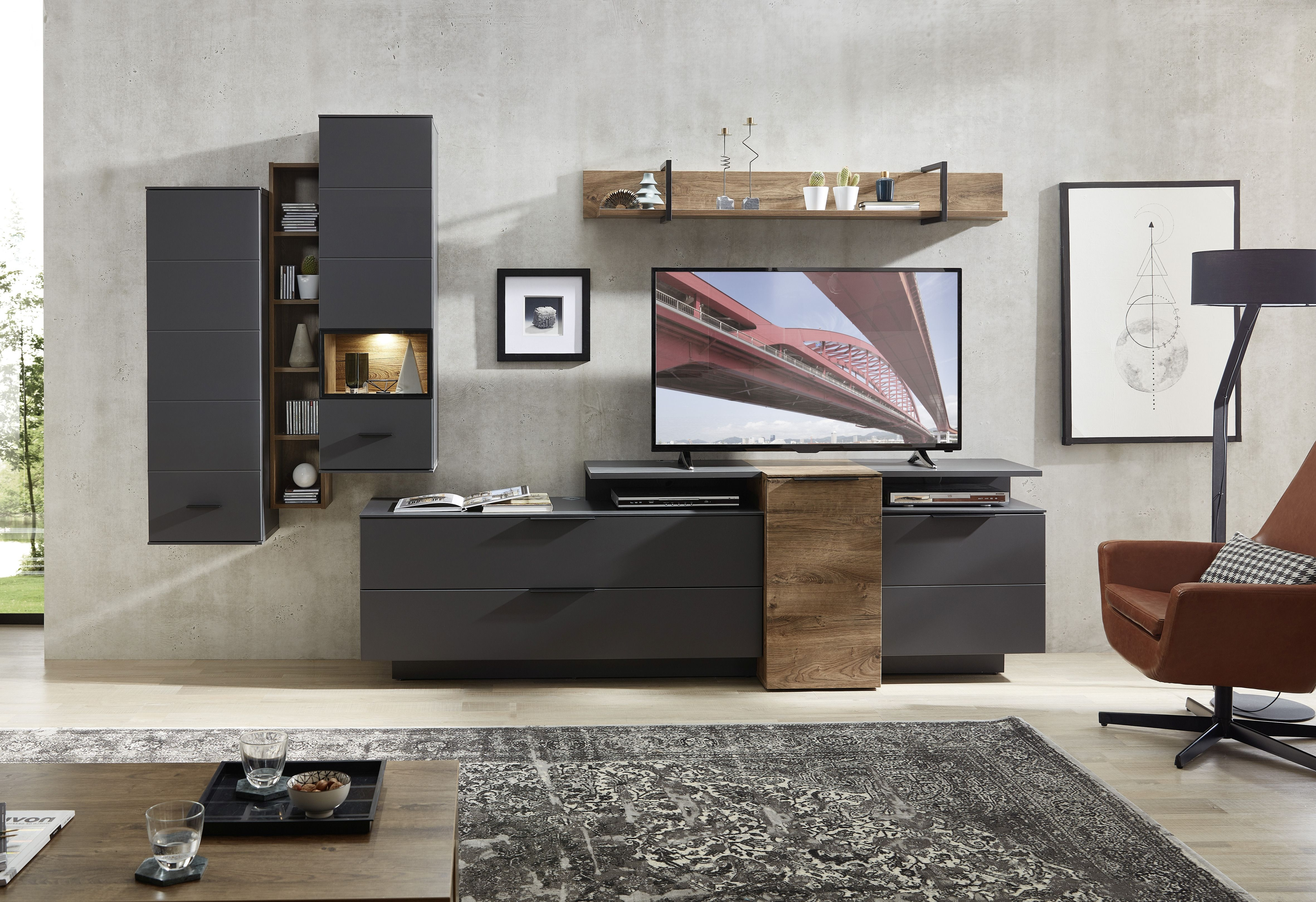 Set de mobila living din pal si MDF, 7 piese Madeline Havel Oak Cognac / Grafit