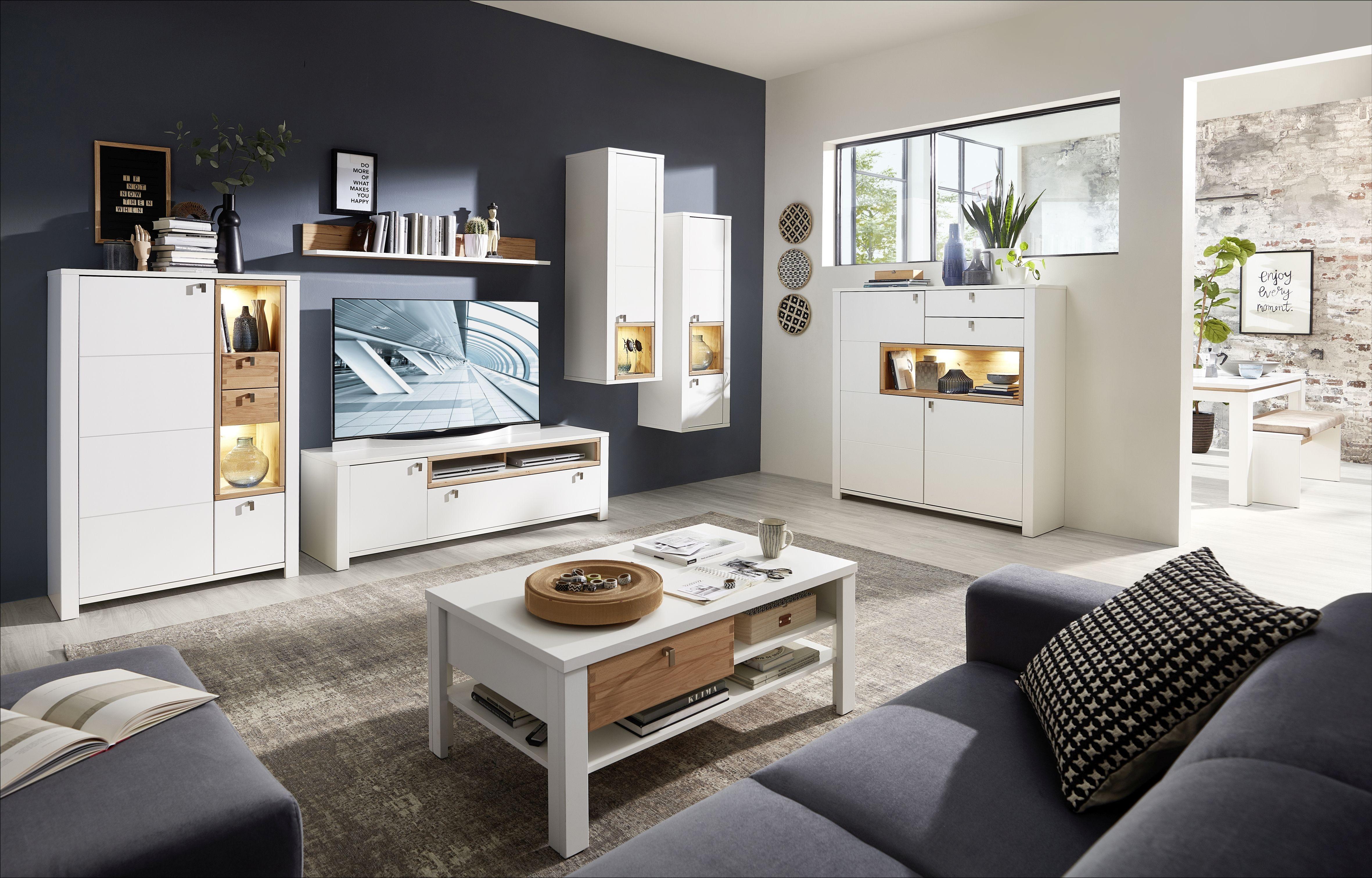 Set de mobila living din pal si MDF, 7 piese Selina Alb / Natur imagine