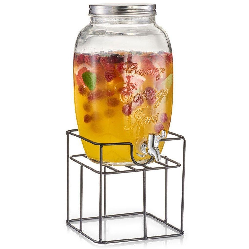 Set dispenser bauturi cu suport metalic Countrystyle, 5 L, L18,5xl18,5xH19 cm