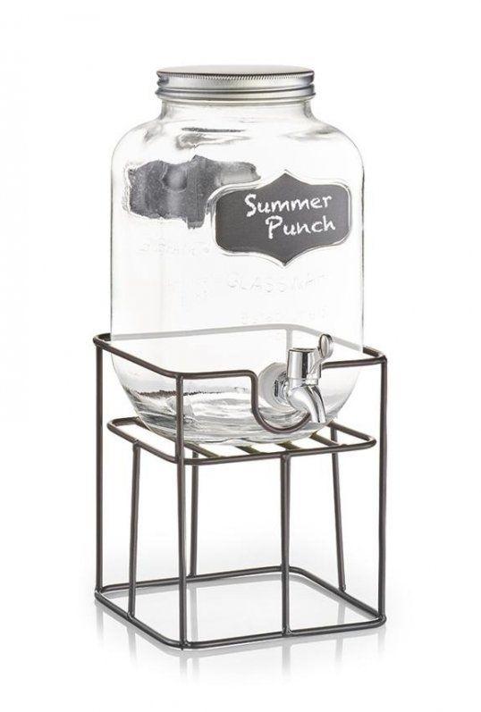 Set dispenser bauturi cu suport metalic Summer Punch, 3,8 L, L16,5xl16,5xH19 cm somproduct.ro