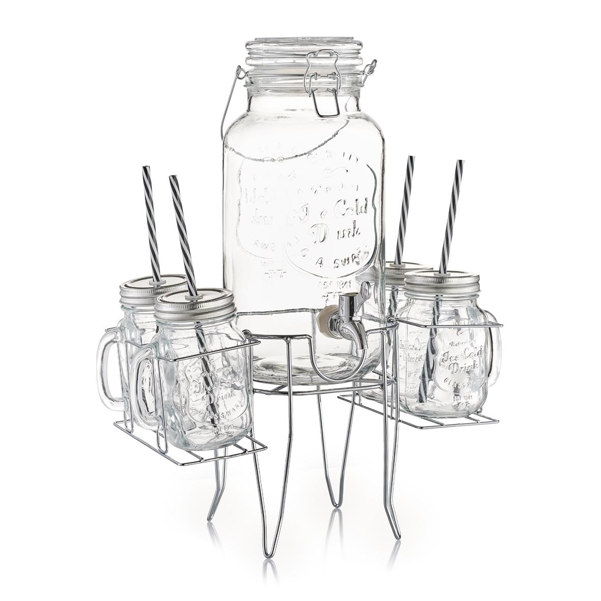 Set dispenser si pahare pentru limonada cu suport metalic 6 piese