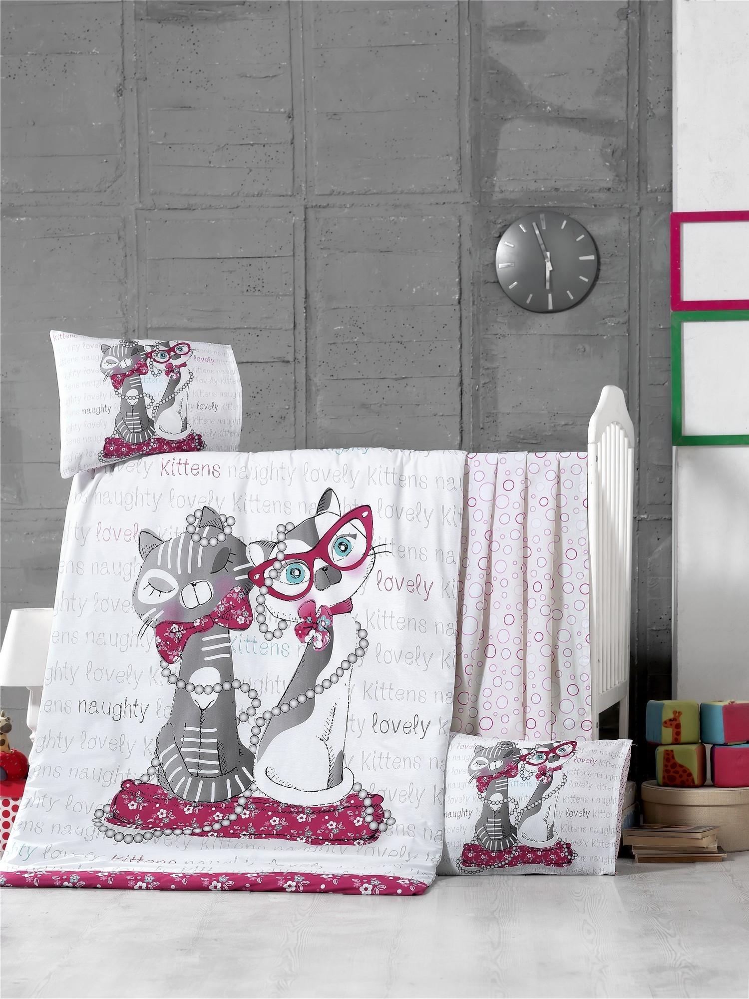 Set lenjerie pentru copii, din bumbac Ranforce, 4 piese, Kittens Multicolor, 100 x 150 cm poza