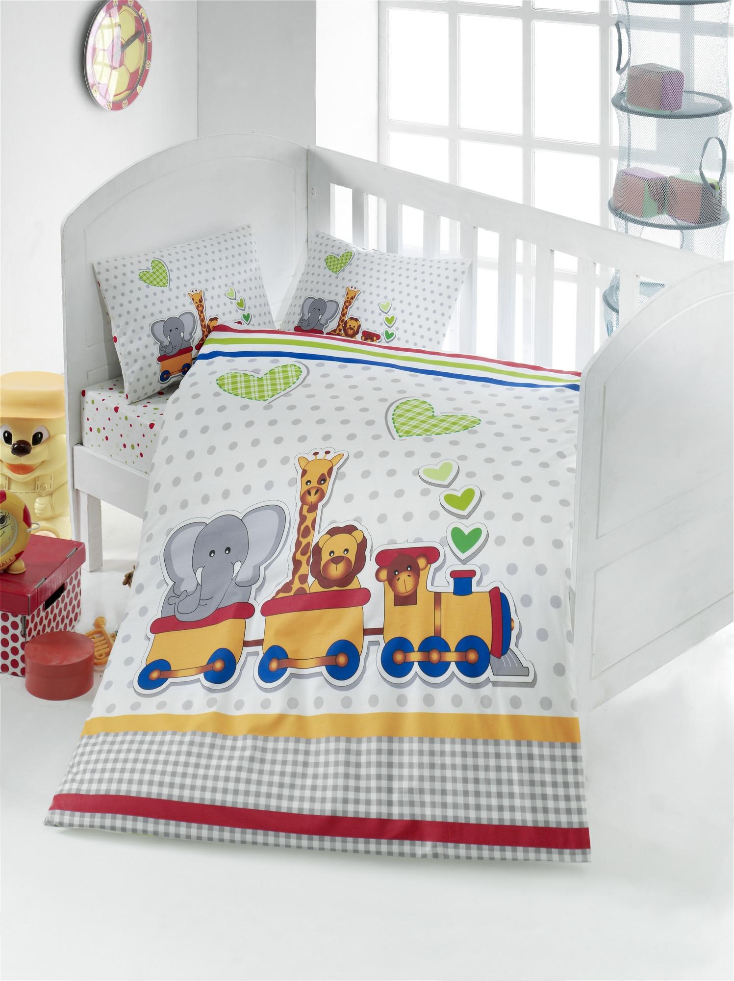 Set lenjerie pentru copii, din bumbac Ranforce, 4 piese, Madagascar Multicolor, 100 x 150 cm imagine 2021