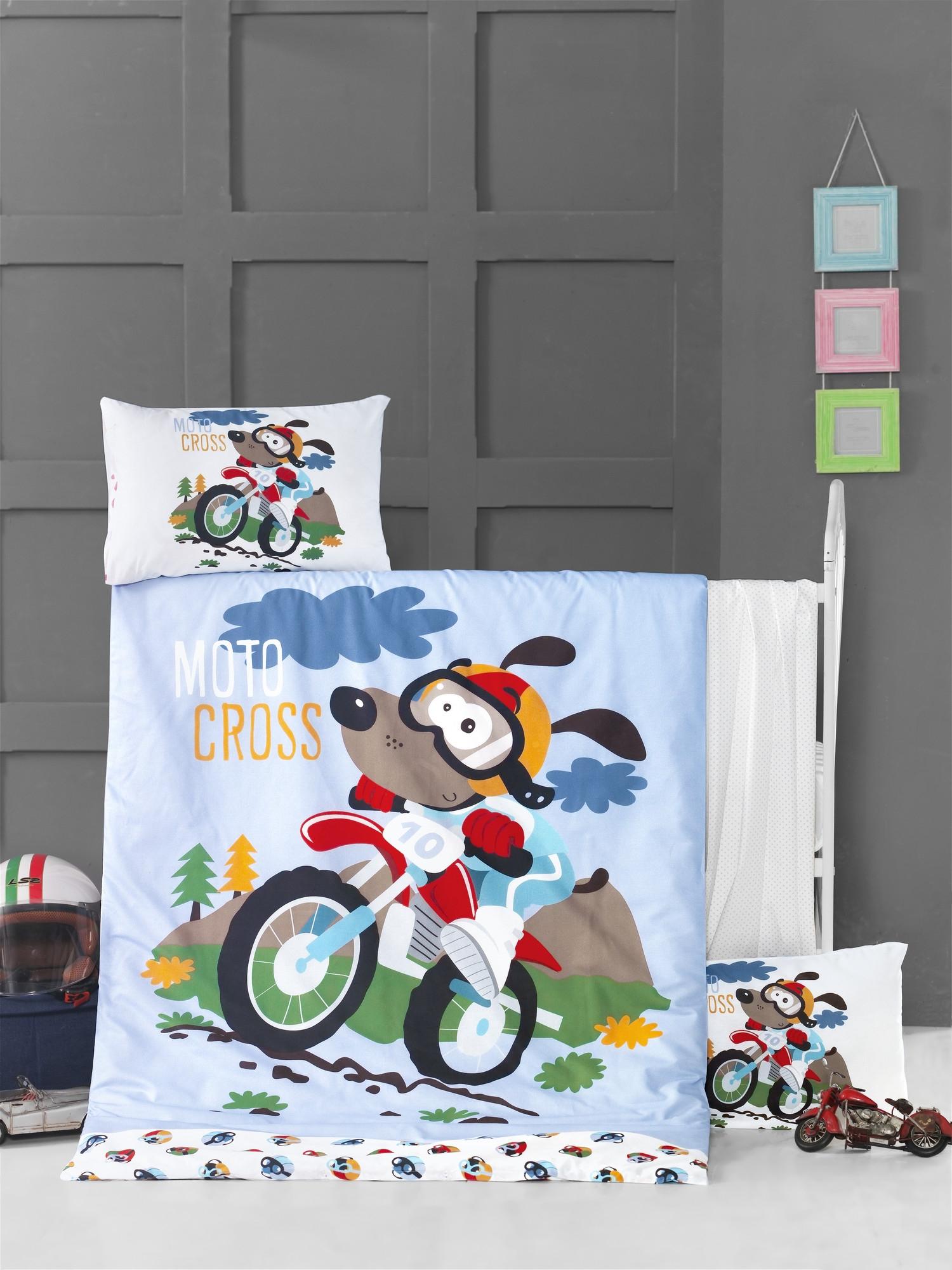 Set lenjerie pentru copii, din bumbac Ranforce, 4 piese, Moto Cross Multicolor, 100 x 150 cm poza