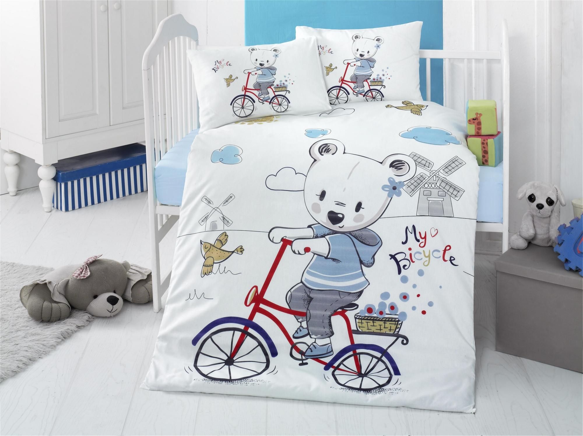 Set lenjerie pentru copii, din bumbac Ranforce, 4 piese, My bike Multicolor, 100 x 150 cm poza