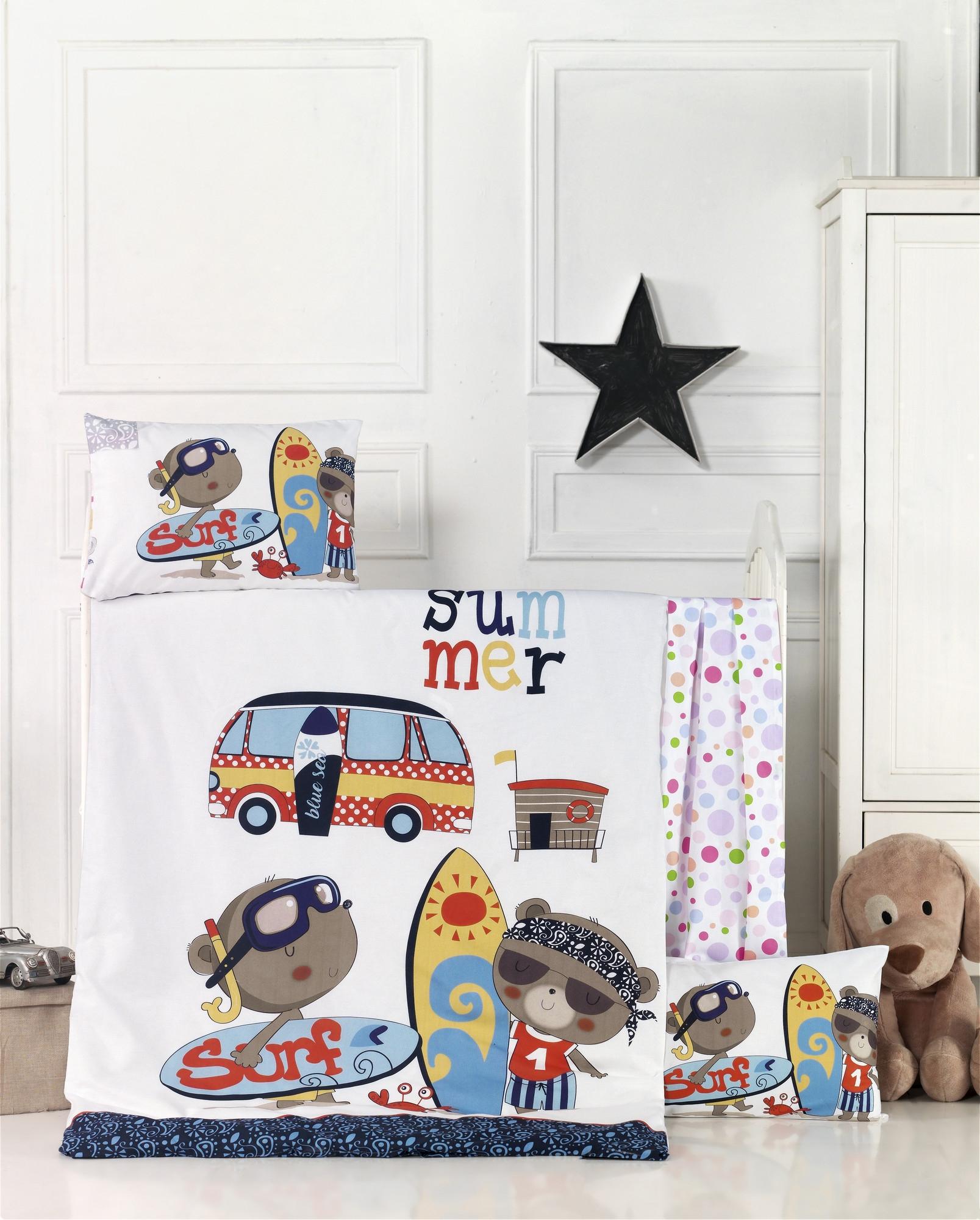 Set lenjerie pentru copii, din bumbac Ranforce, 4 piese, Surf Multicolor, 100 x 150 cm poza