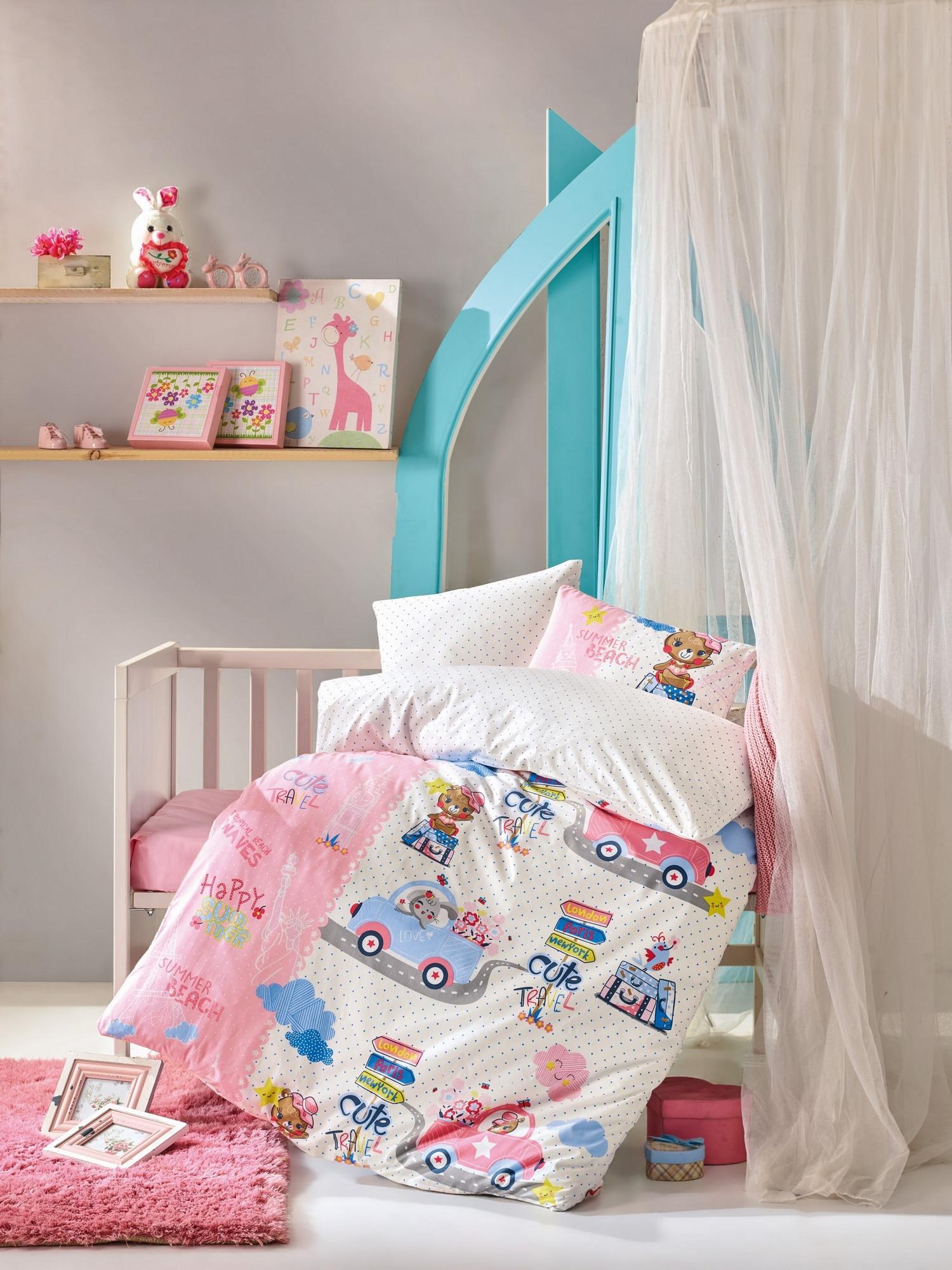 Set lenjerie pentru copii, din bumbac Ranforce, 4 piese, Toys Multicolor, 100 x 150 cm poza