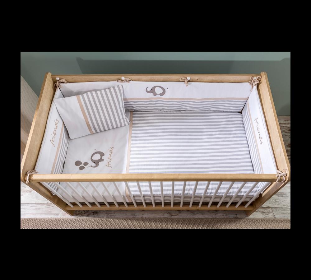 Set lenjerie pentru patut bebe 6 piese Sleepy 75 x 115 cm