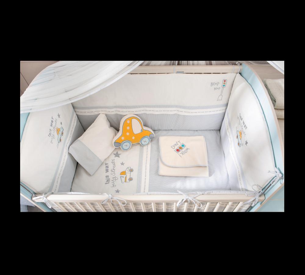 Set lenjerie pentru patut bebe 9 piese Baby Boy 75 x 115 cm