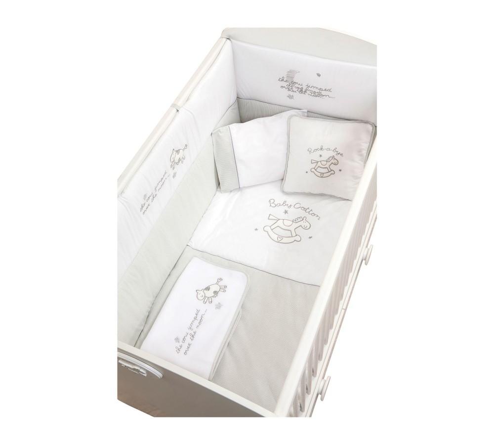 Set lenjerie pentru patut bebe 9 piese Baby Cotton 75 x 115 cm