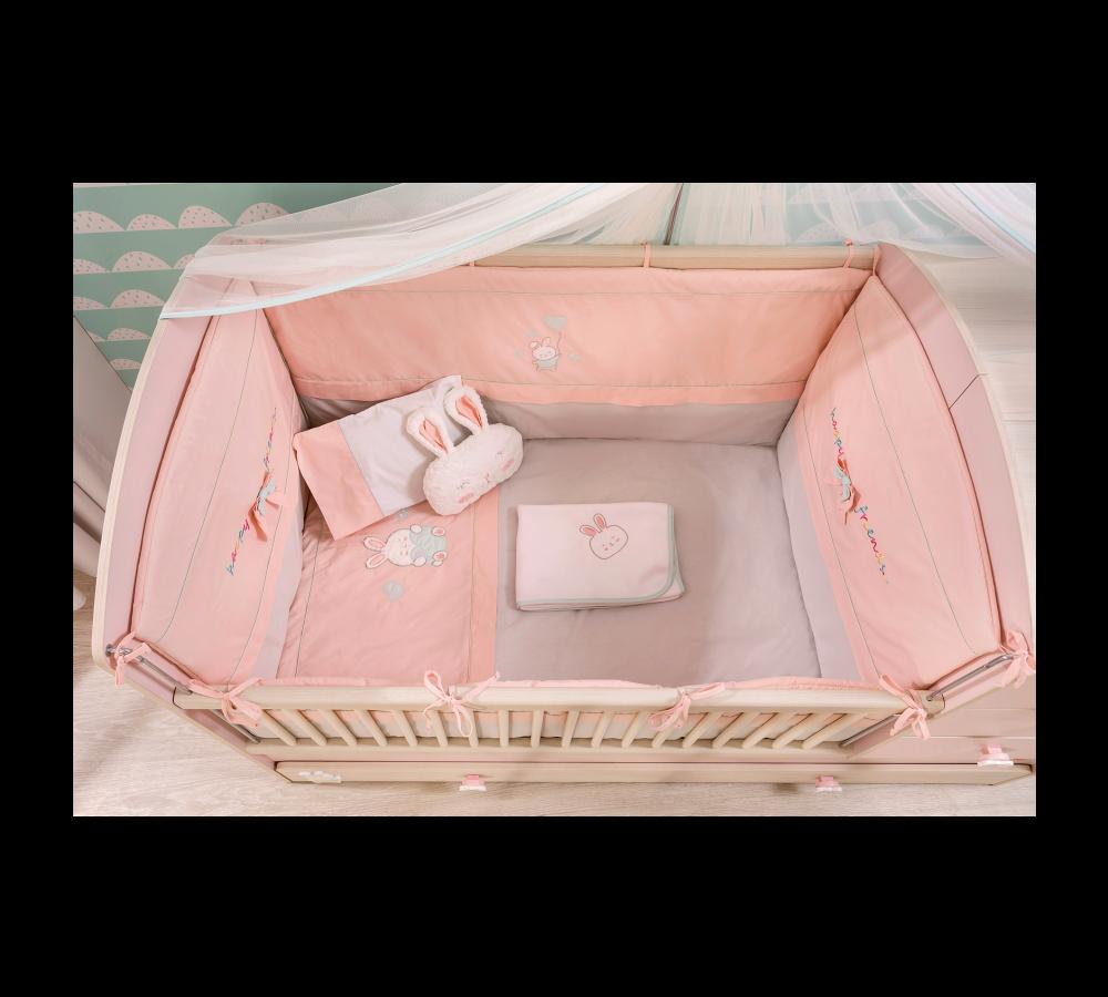Set lenjerie pentru patut bebe 9 piese Baby Girl, 80 x 130 cm