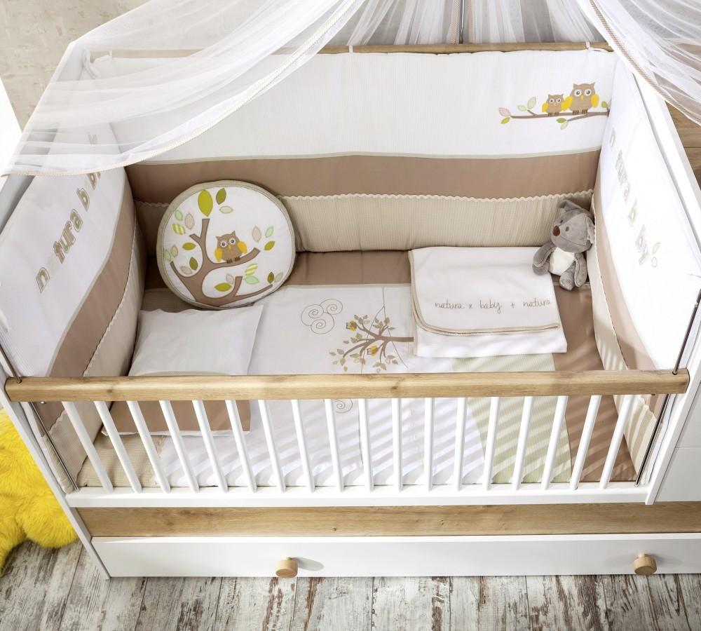 Set lenjerie pentru patut bebe 9 piese Natura Baby, 75 x 115 cm imagine