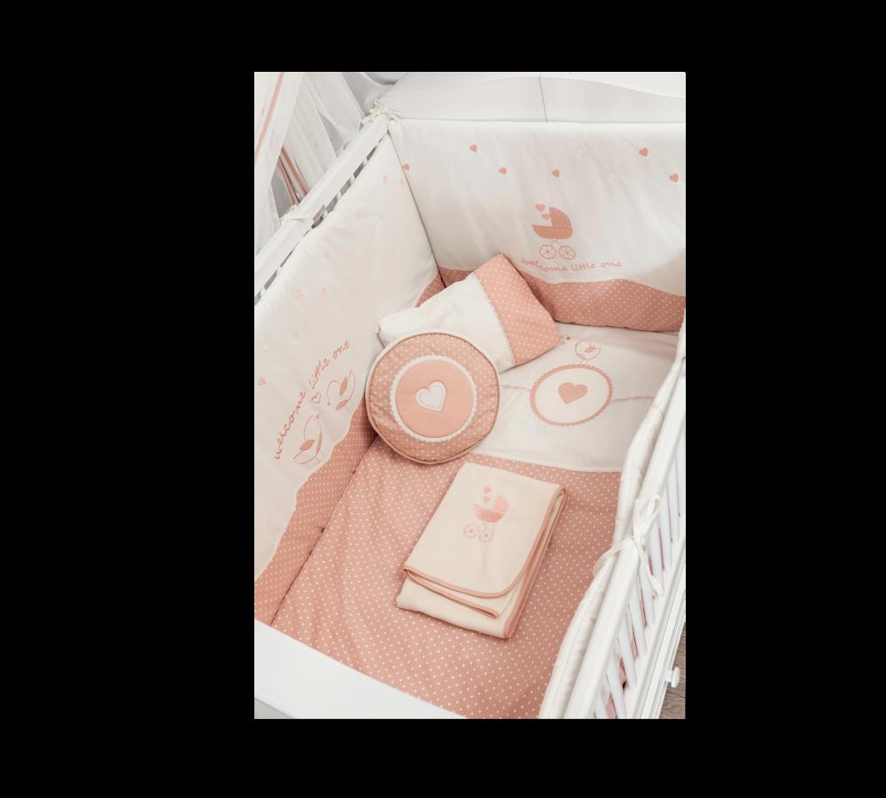 Set lenjerie pentru patut bebe 9 piese Romantic Baby 75 x 115 cm