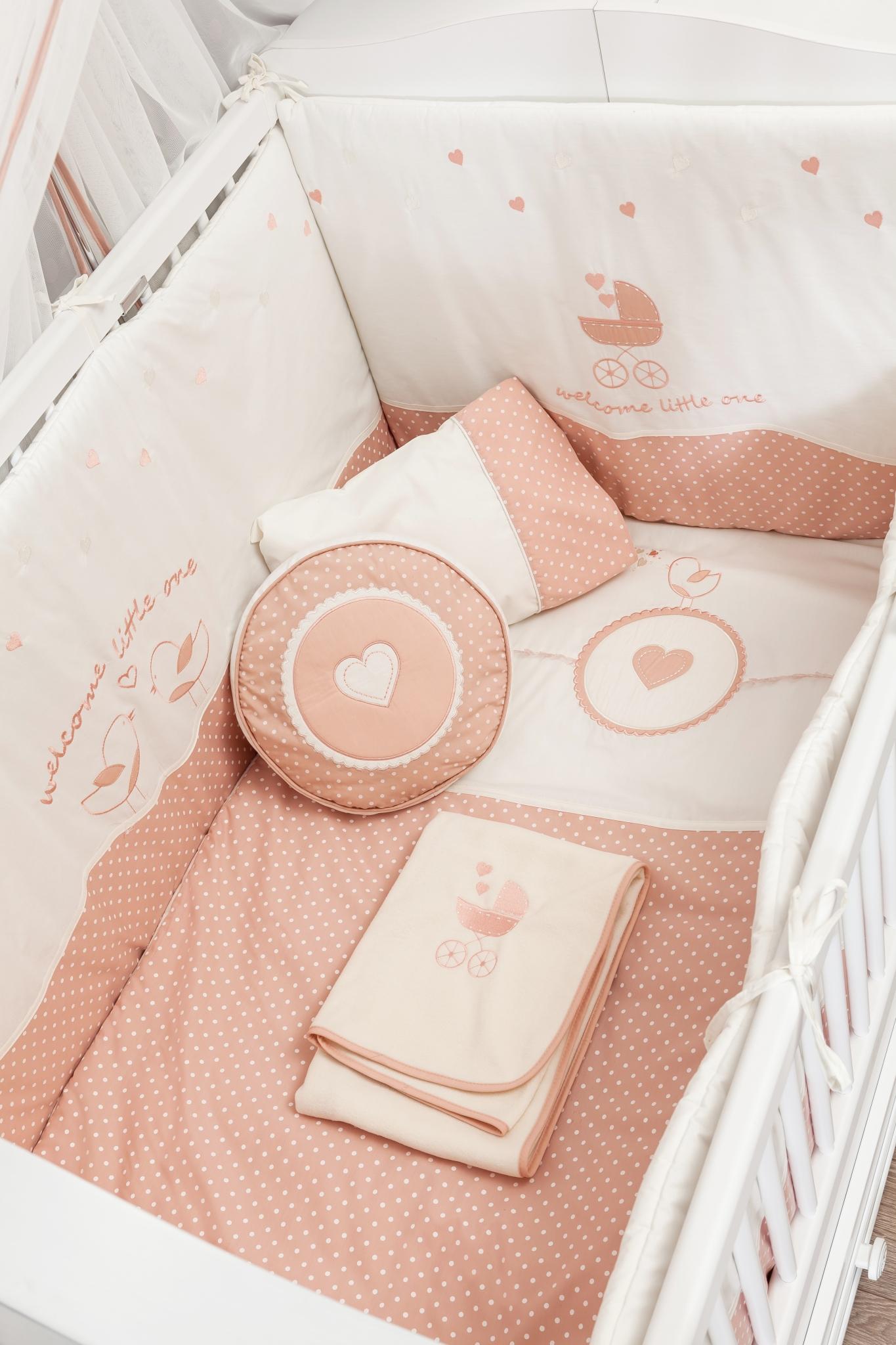 Set lenjerie pentru patut bebe 9 piese Romantic Baby 80 x 130 cm