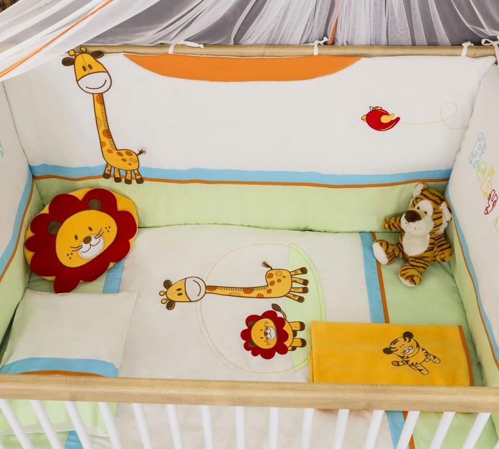 Set lenjerie pentru patut bebe 9 piese Safari Natura 75 x 115 cm