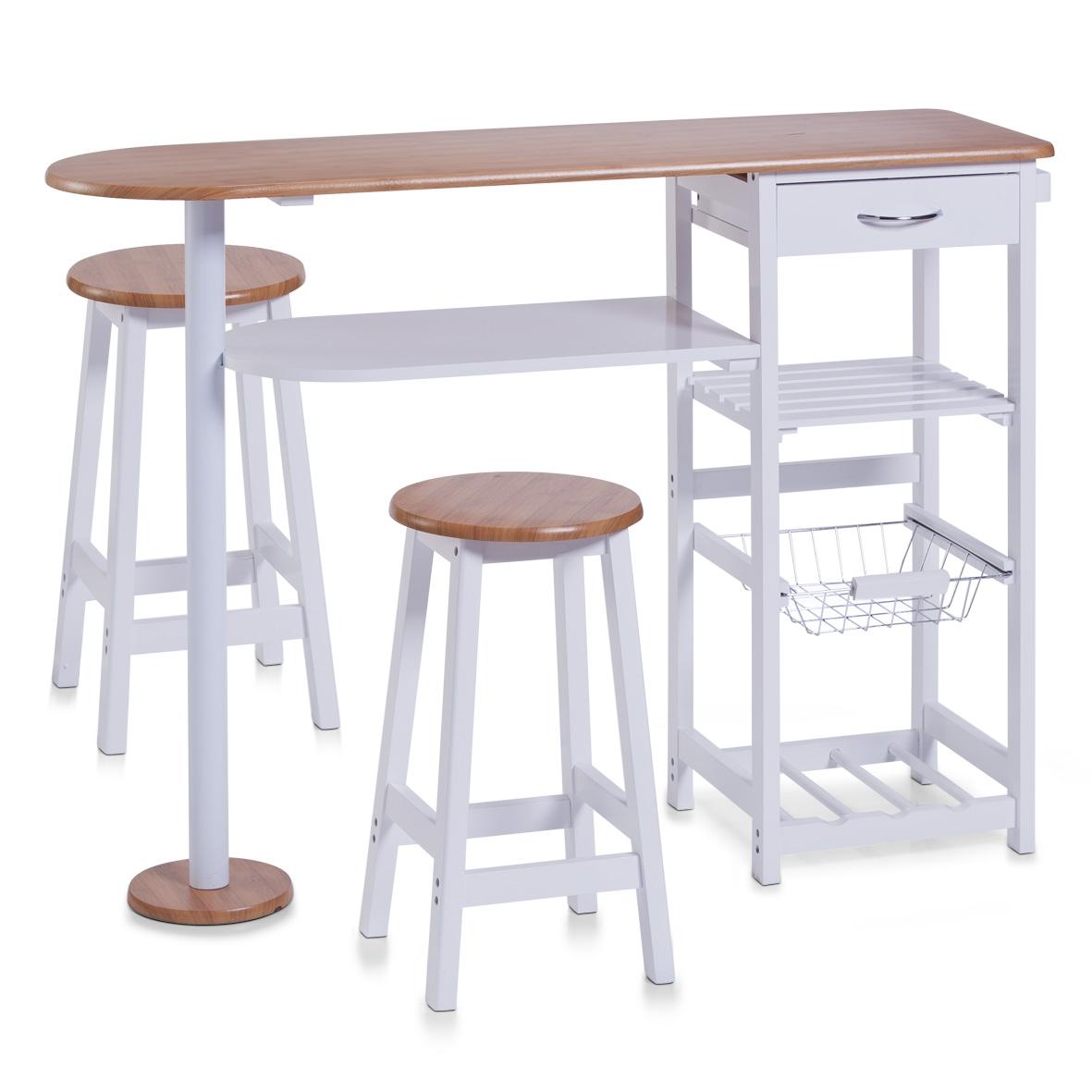 Set masa + 2 scaune de bar din MDF, pentru bucatarie, Bari Alb, l118xA38xH89 cm poza