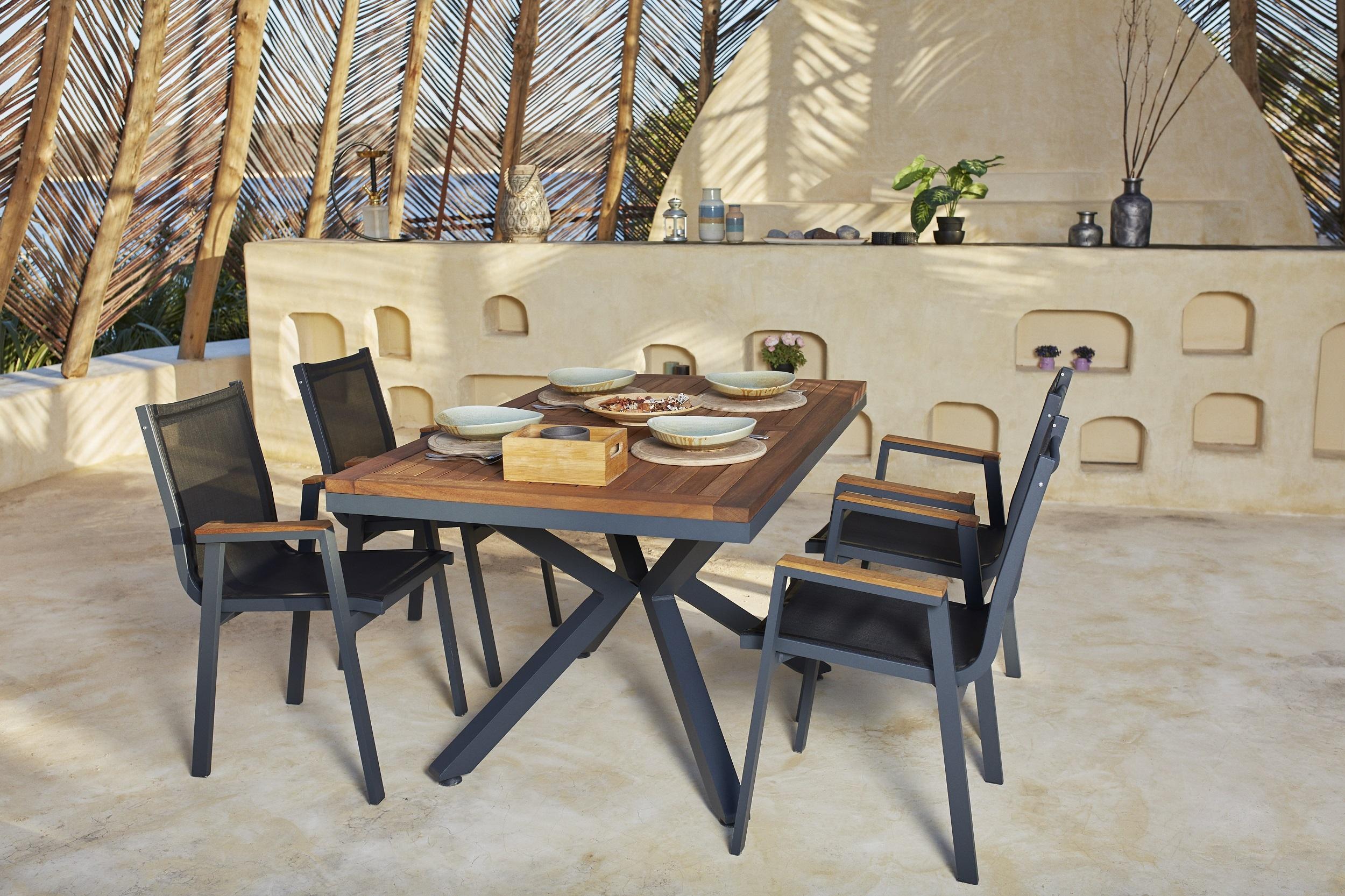 Set masa de gradina / terasa din aluminiu si lemn Sydney Natural / Antracit + 6 scaune de gradina Ottowa Antracit, L150xl90xH77 cm poza