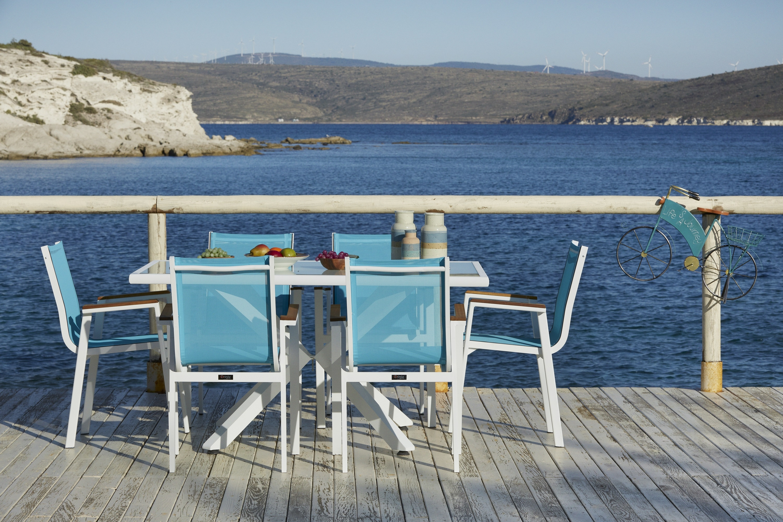Set masa de gradina / terasa din aluminiu si sticla Sydney Alb + 6 scaune de gradina Ottowa Albastru deschis / Alb, L150xl90xH77 cm