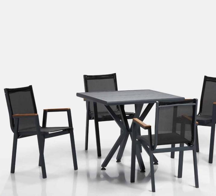 Set masa de gradina / terasa din aluminiu Samara Antracit + 4 scaune de gradina Ottowa Antracit, L80xl80xH77 cm poza