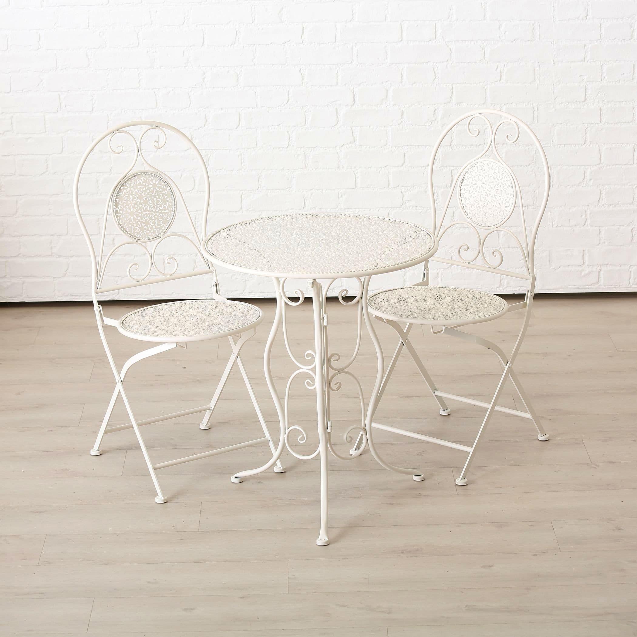 Set masa de gradina / terasa din metal + 2 scaune pliabile Lilli Alb, Ø60xH70 cm