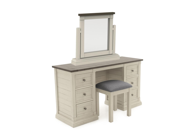 Set masa de toaleta cu oglinda si taburet din lemn de pin Croft Antique White L1344xl465xH75 cm
