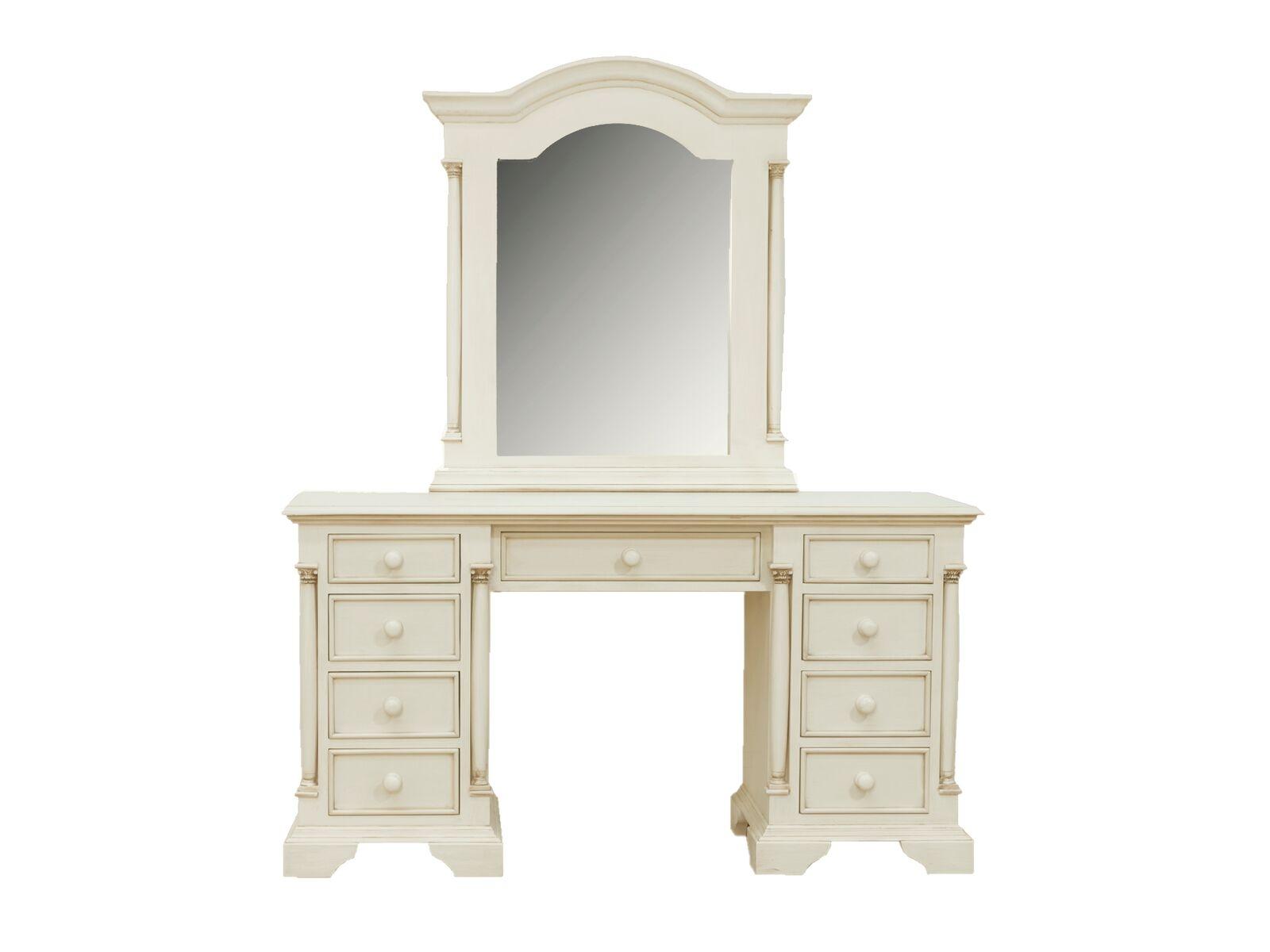 Set masa de toaleta cu oglinda si taburet din lemn de pin si MDF Ailesbury Ivory L140xl48xH75 cm
