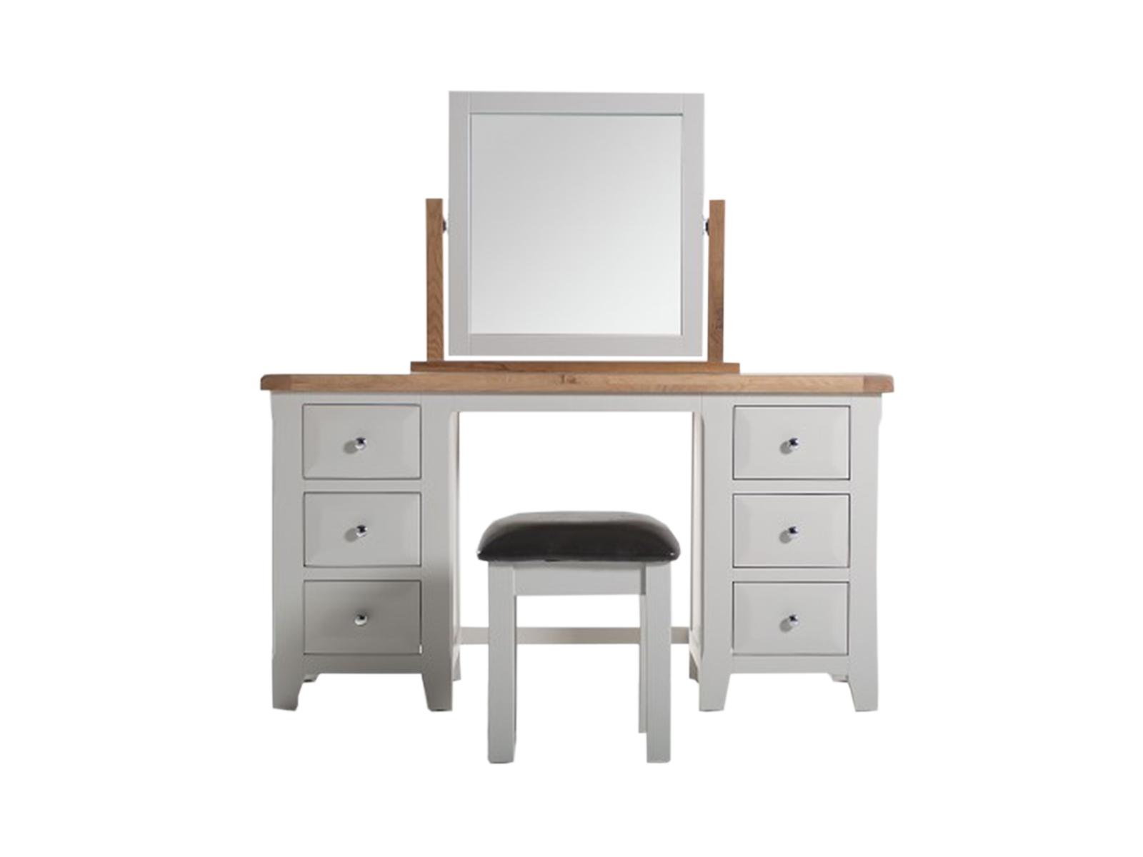 Set masa de toaleta cu oglinda si taburet din lemn de salcam si stejar Clemence Grey / Oak L140xl48xH75 cm