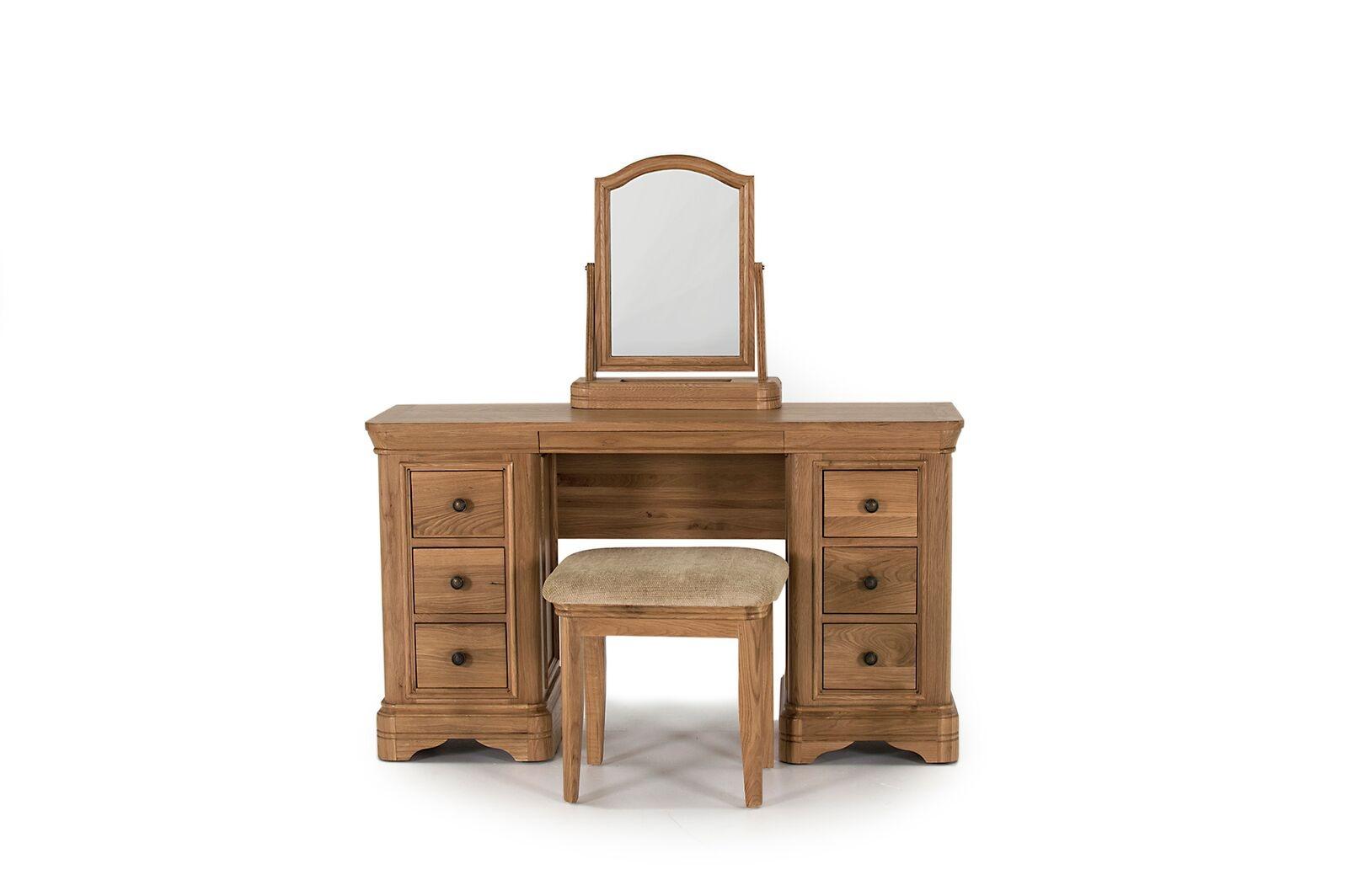 Set masa de toaleta cu oglinda si taburet din lemn de stejar si furnir Carmen Oak L130xl425xH75 cm