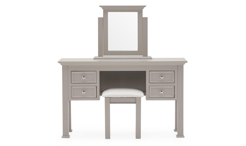 Set masa de toaleta cu oglinda si taburet tapitat din lemn de pin si MDF Deauville Taupe L125xl42xH755 cm