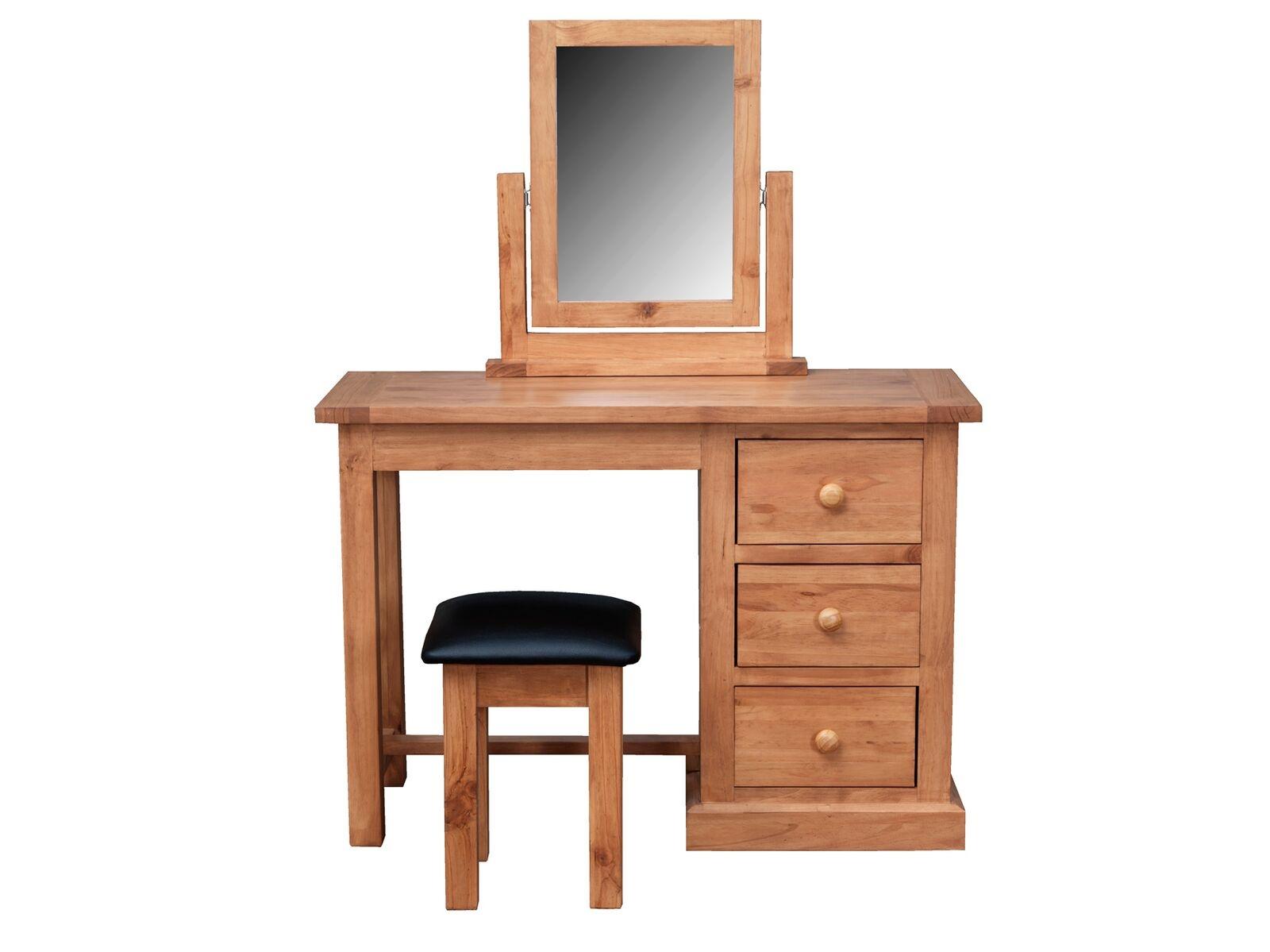 Set masa de toaleta cu oglinda si taburet tapitat din lemn de pin Devon Natural L105xl40xH74 cm