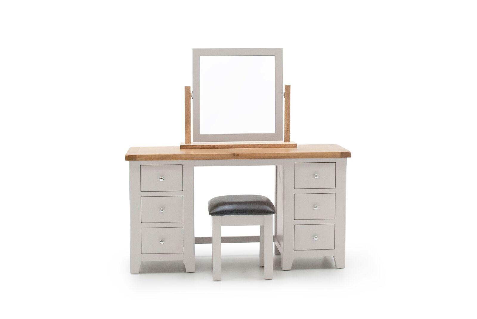 Masa de toaleta cu taburet din lemn de pin stejar si MDF Clemence Grey / Oak L140xl48xH75 cm