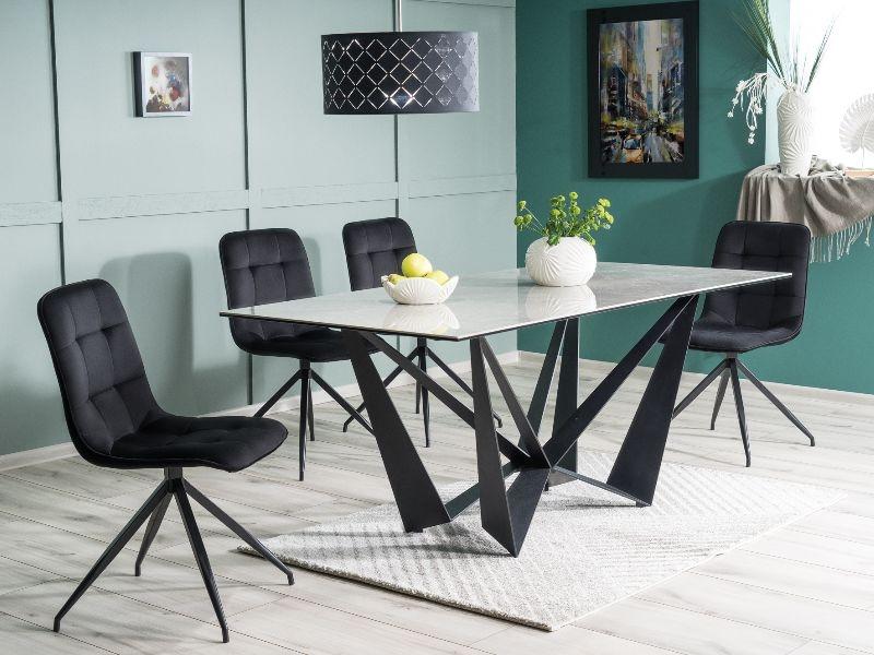 Set masa din ceramica, sticla si metal Mavis Gri / Negru + 4 scaune tapitate cu stofa Tilde Velvet Negru, L180xl90xH76 cm poza