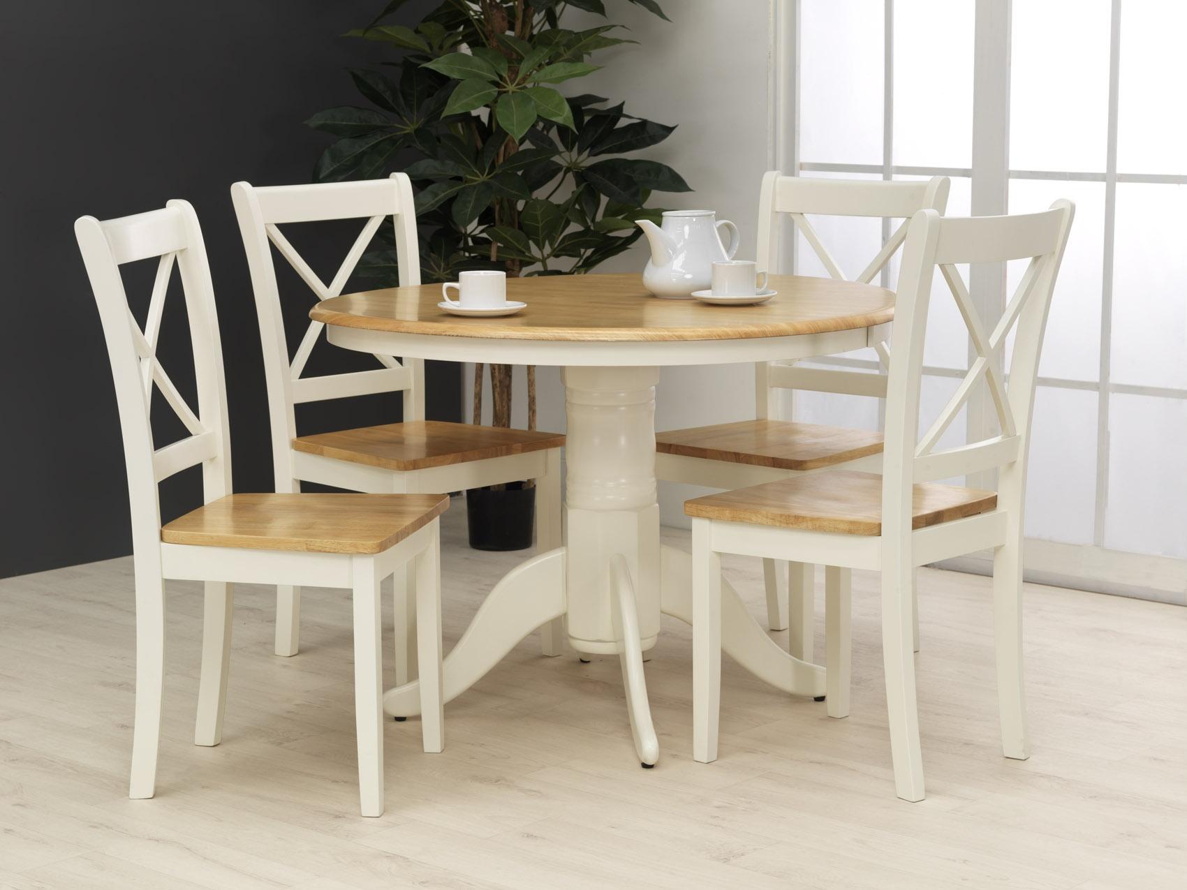 Set masa din lemn de cauciuc + 4 scaune Calais Ivory O106xh742 cm
