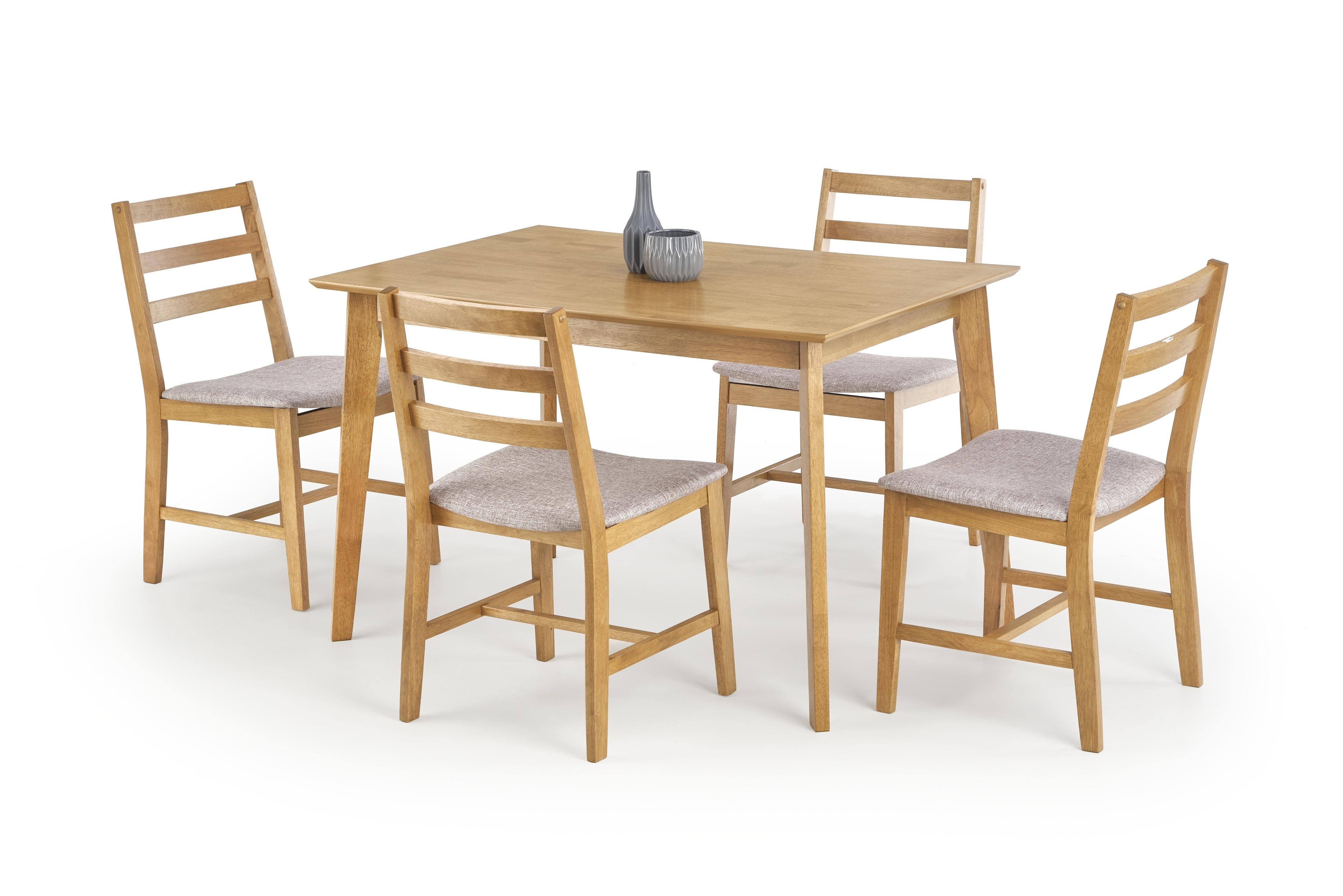 Set masa din lemn de cauciuc Cordoba Oak + 4 scaune Cordoba Oak, L120xl80xH75 cm