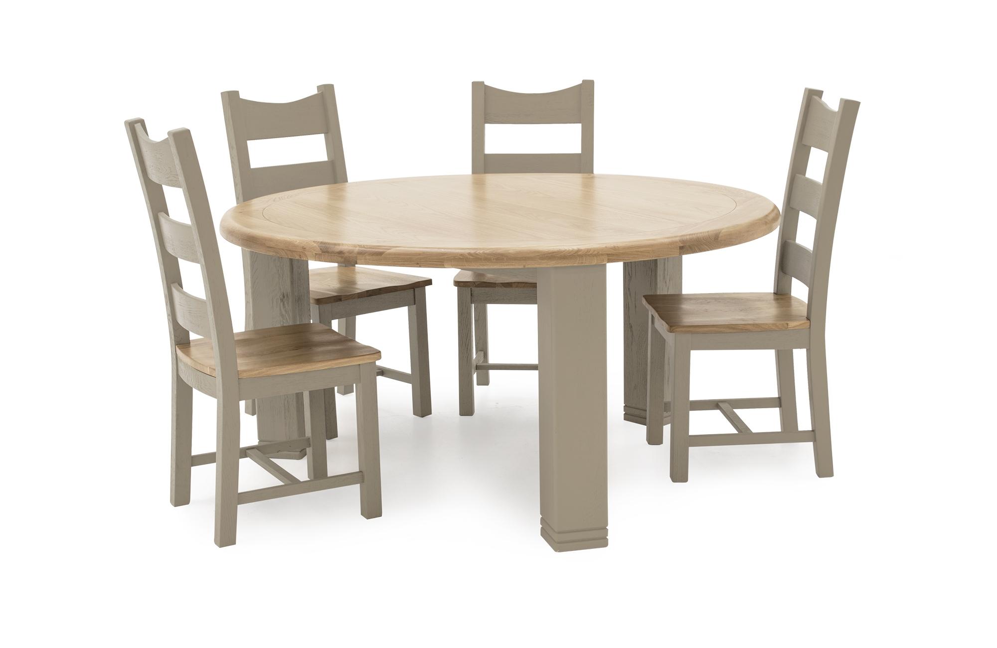 Set masa din lemn de stejar si furnir Logan Round Taupe + 4 scaune din lemn de stejar si furnir Logan Taupe O156xH79 cm