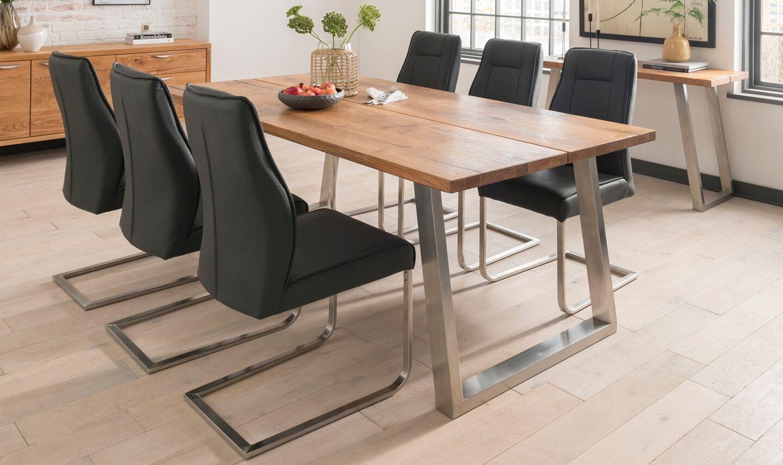 Set masa din lemn de stejar si metal Trier Oak + 6 scaune tapitate cu piele ecologica cu picioare metalice Luciana Charcoal L210xl100xH75 cm