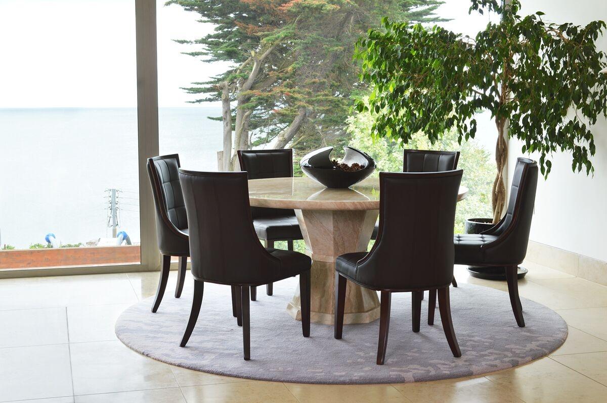 Set masa din marmura + 6 scaune tapitate cu piele ecologica cu picioare din lemn de salcam Marcello Brown / Cream O150xH75 cm