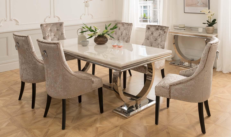 Set masa din marmura si metal Arianna Cream + 6 scaune tapitate cu stofa cu picioare de lemn Eden Ivory L180xl90xH75 cm