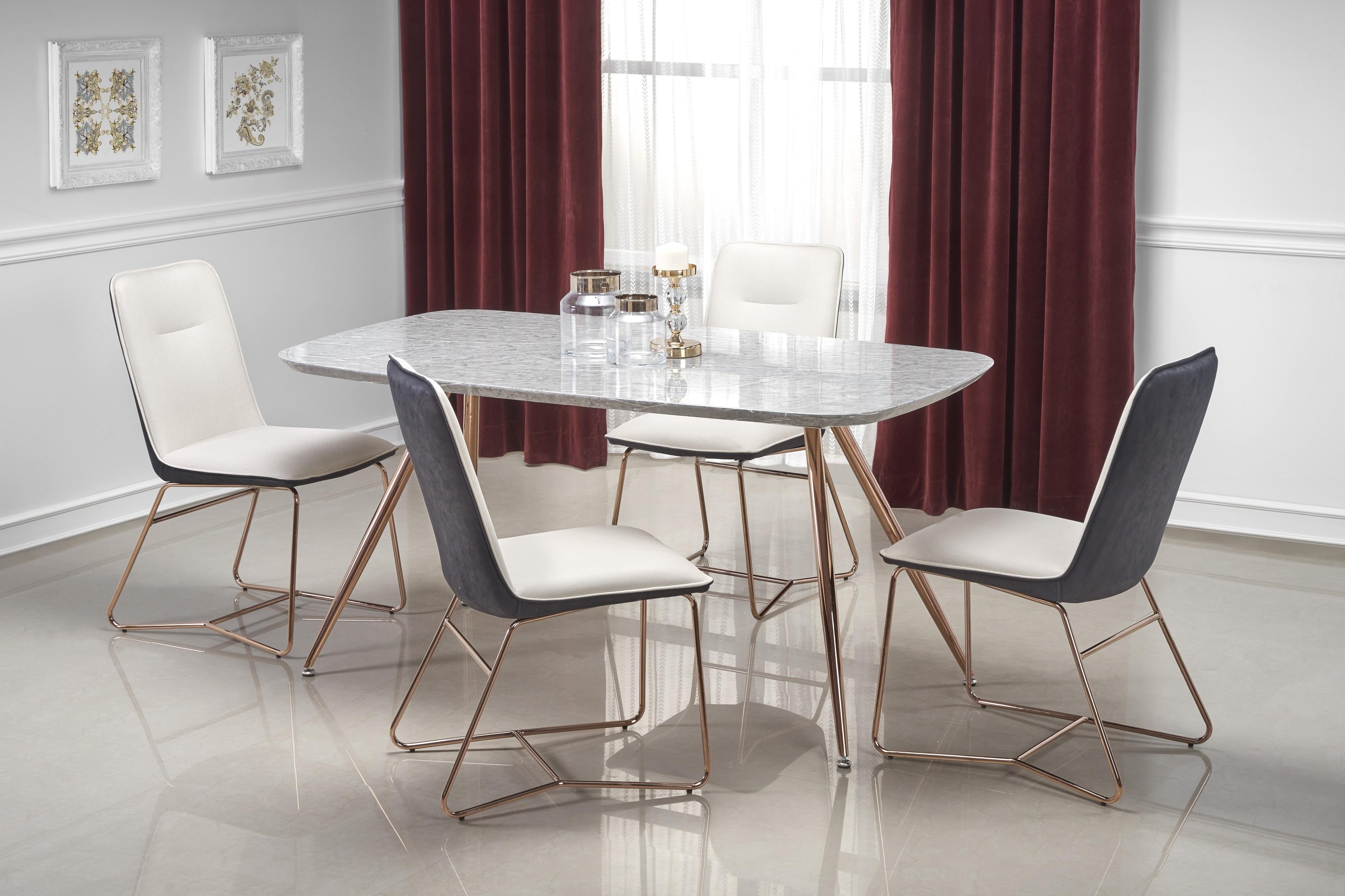Set masa din MDF, furnir si metal Barcano Gri / Auriu + 4 scaune tapitate cu piele ecologica K390 Crem / Gri inchis / Auriu, L160xl90xH77 cm poza