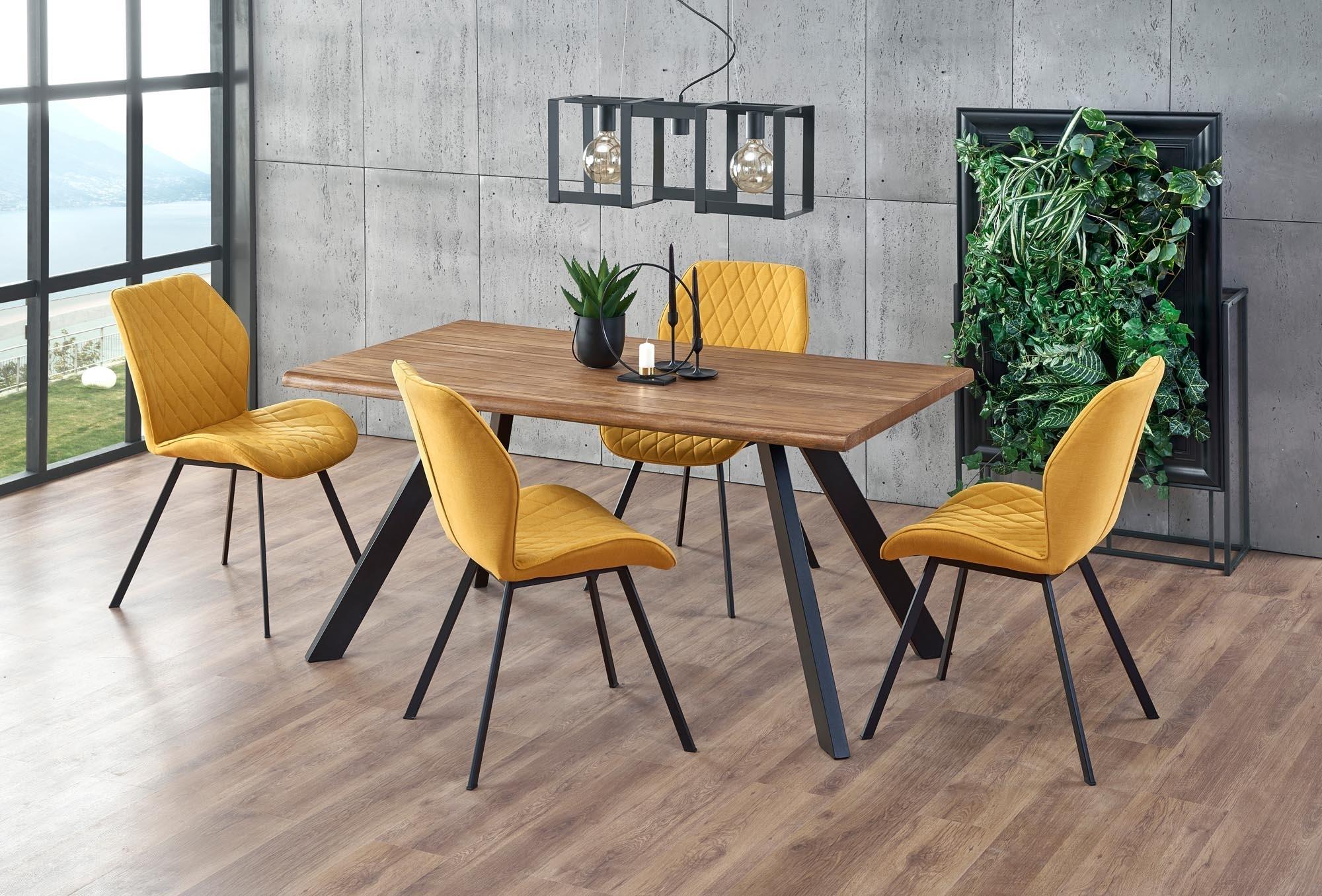 Set masa din MDF, furnir si metal Esposito Nuc / Negru + 4 scaune tapitate cu stofa K360 Mustariu / Negru, L160xl90xH76 cm
