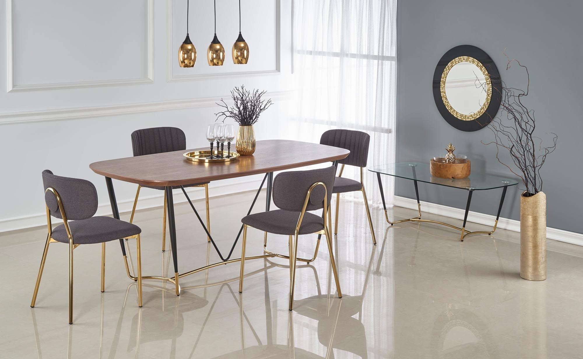 Set masa din MDF, furnir si metal Manchester Nuc / Negru / Auriu + 4 scaune tapitate cu stofa K362 Gri / Auriu, L180xl90xH76 cm imagine