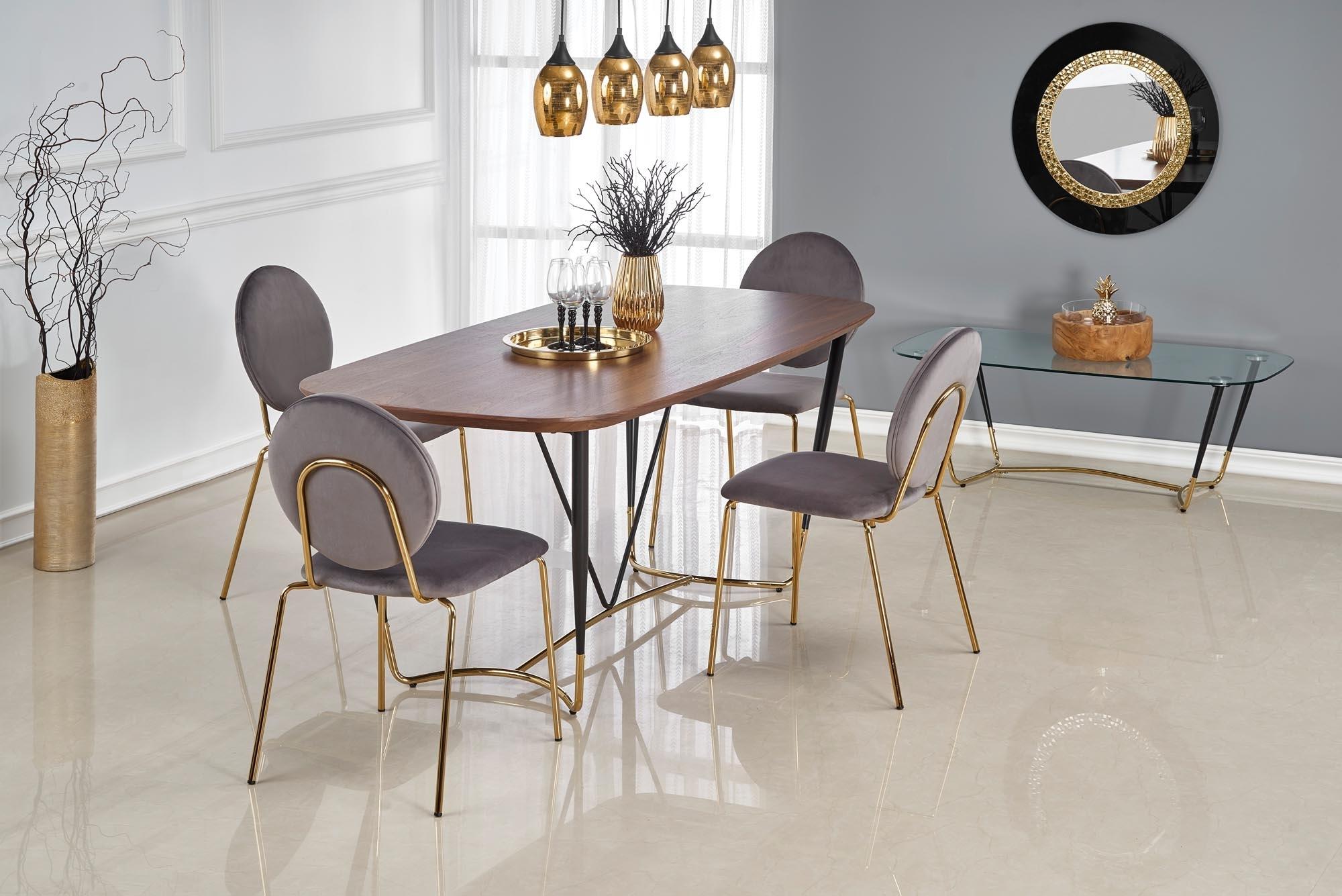 Set masa din MDF, furnir si metal Manchester Nuc / Negru / Auriu + 4 scaune tapitate cu stofa K363 Gri / Auriu, L180xl90xH76 cm